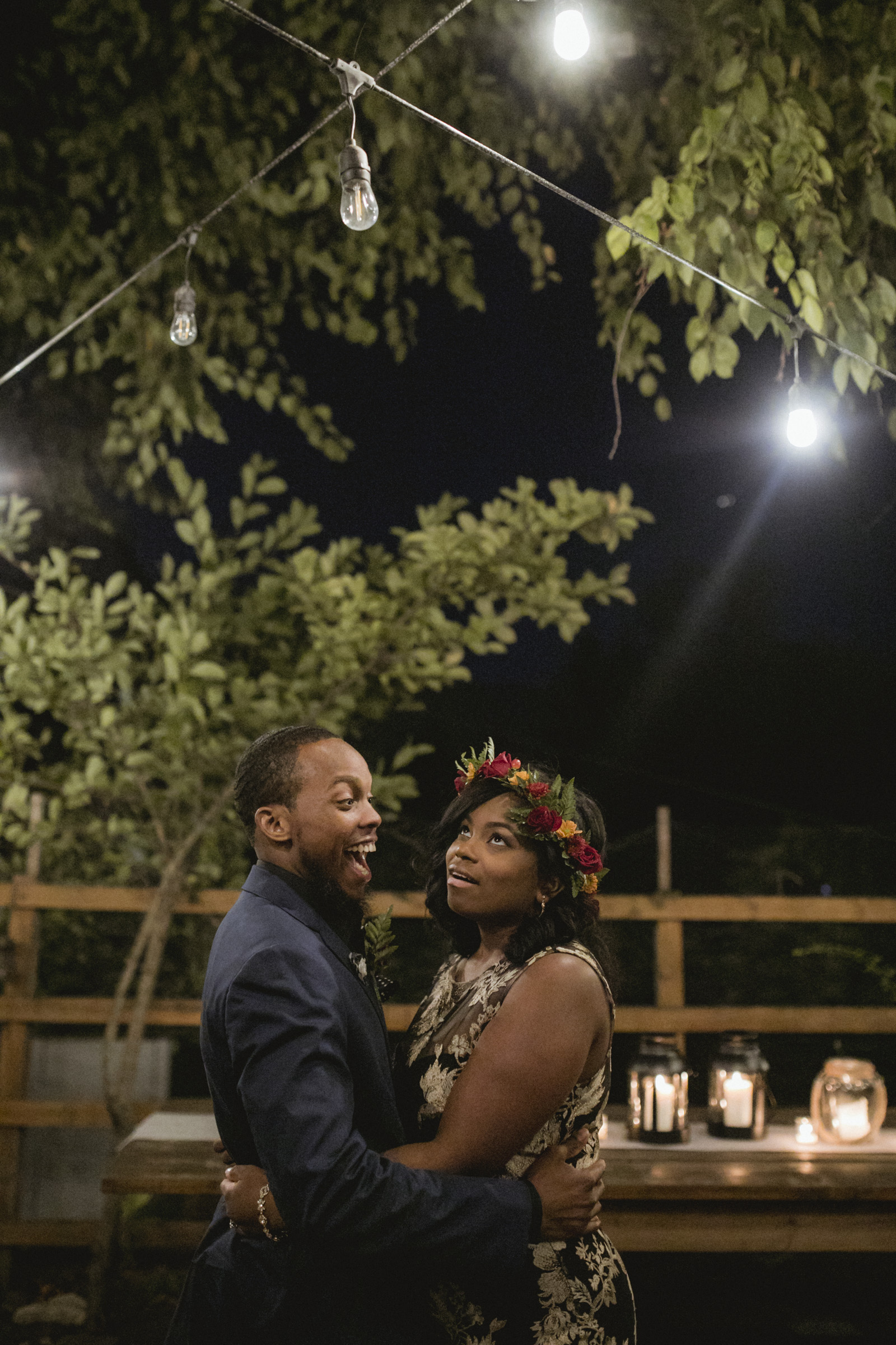 Amy Sims Photography | Groom laughs while bride rolls her eyes at his pun | Brooklyn Wedding Photographer | Naturally Delicious Private Dinning Room Wedding