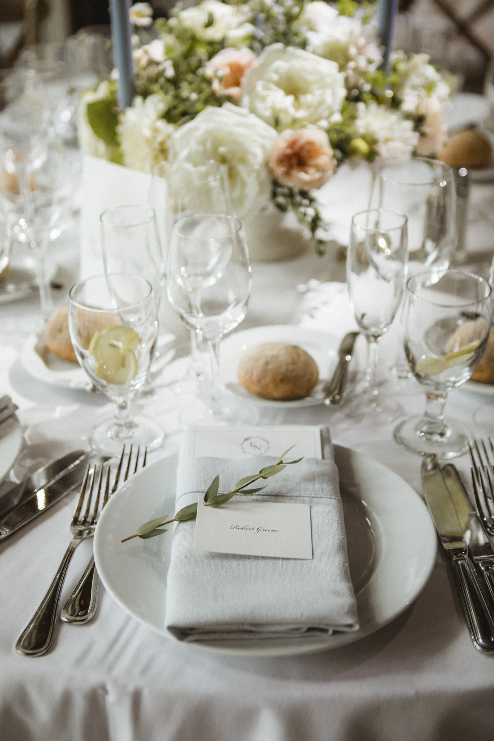 Amy Sims Photography | place card and a sprig of eucalyptus lay on a place setting | Central park wedding | Loeb Boathouse wedding | New York Wedding Photographer | Manhattan wedding photographer