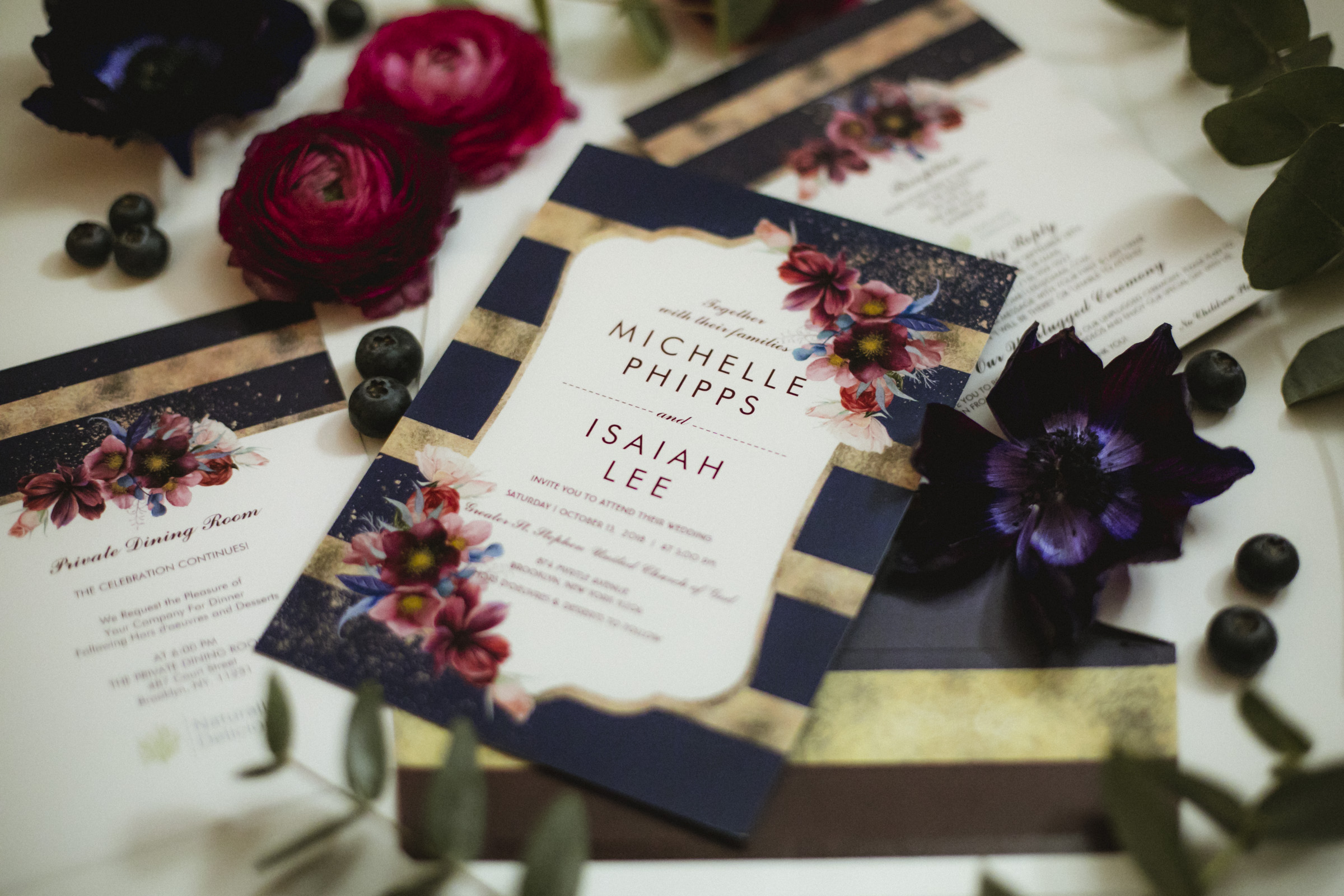 Amy Sims Photography | Jewel toned invitation suite | New York Wedding Photographer | Brooklyn Wedding | Naturally Delicious Private Dinning Room