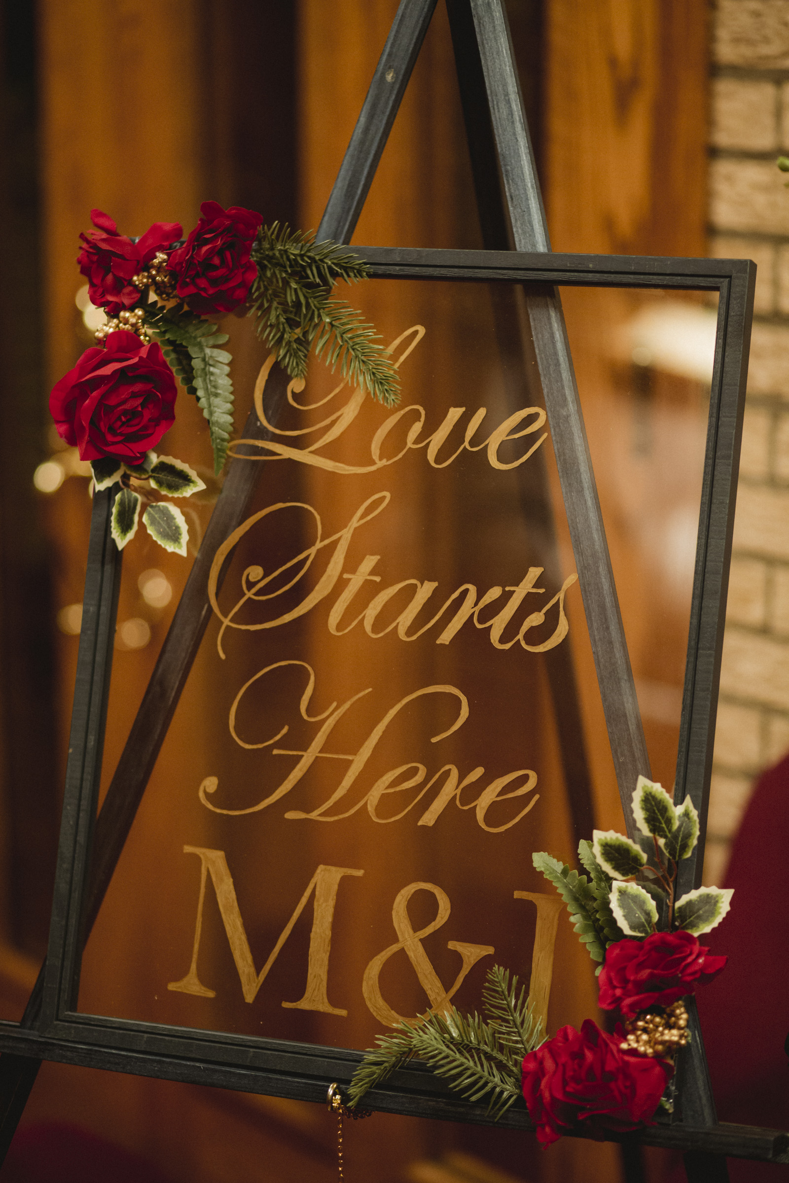 "Amy Sims Photography | ""Love Starts Here M & I"" sign 