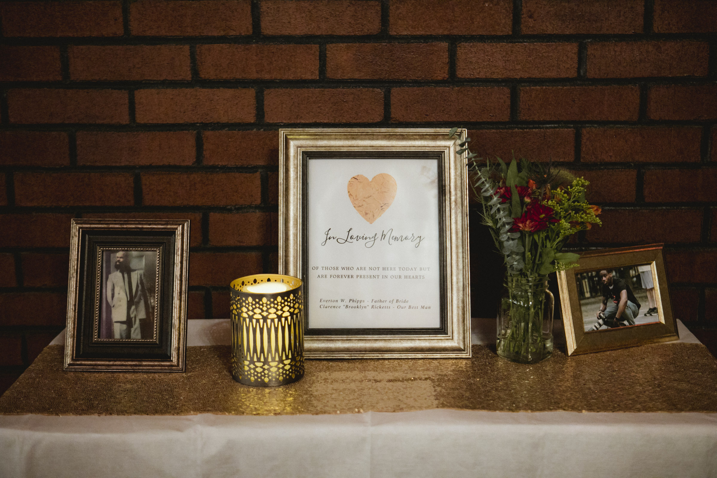 Amy Sims Photography | Memorial table at Greater St. Stephen United Church of God | New York Wedding Photographer | Brooklyn Church Wedding