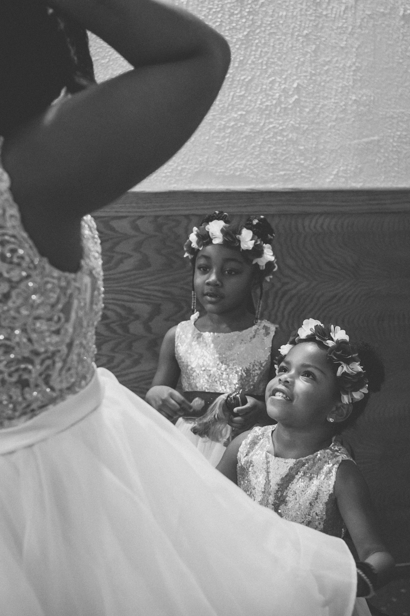 Amy Sims Photography | Flower girls admire bride | Greater St. Stephen United Church of God | New York Wedding Photographer | Brooklyn Church Wedding