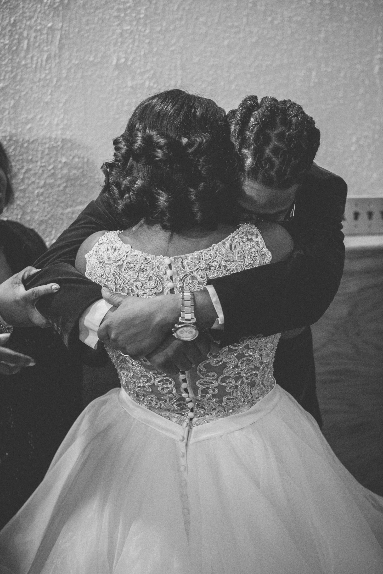 Amy Sims Photography | Brother of bride hugs his sister | Greater St. Stephen United Church of God | New York Wedding Photographer | Brooklyn Church Wedding