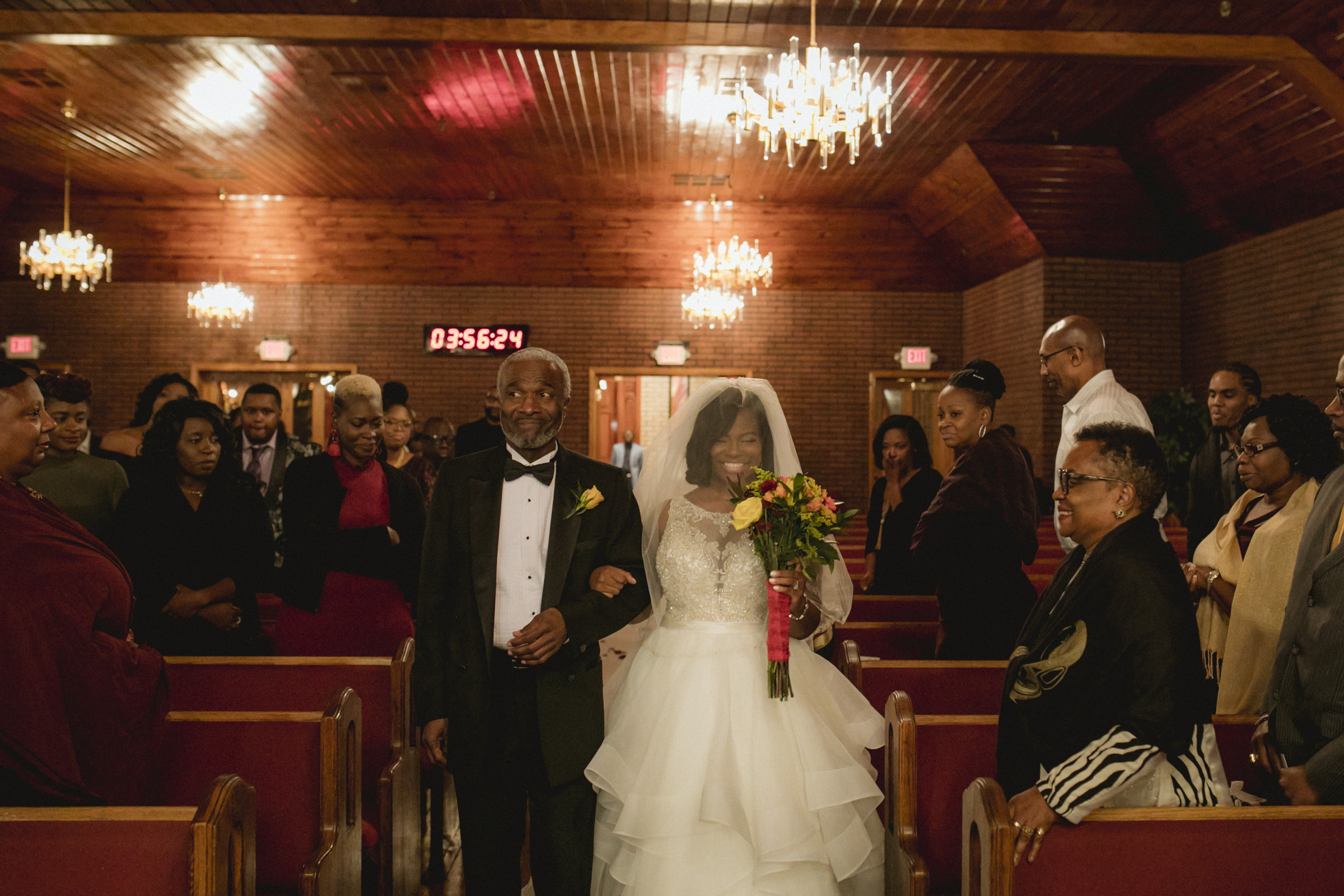 Amy Sims Photography | Bride walks down the aisle | Greater St. Stephen United Church of God | New York Wedding Photographer | Brooklyn Church Wedding