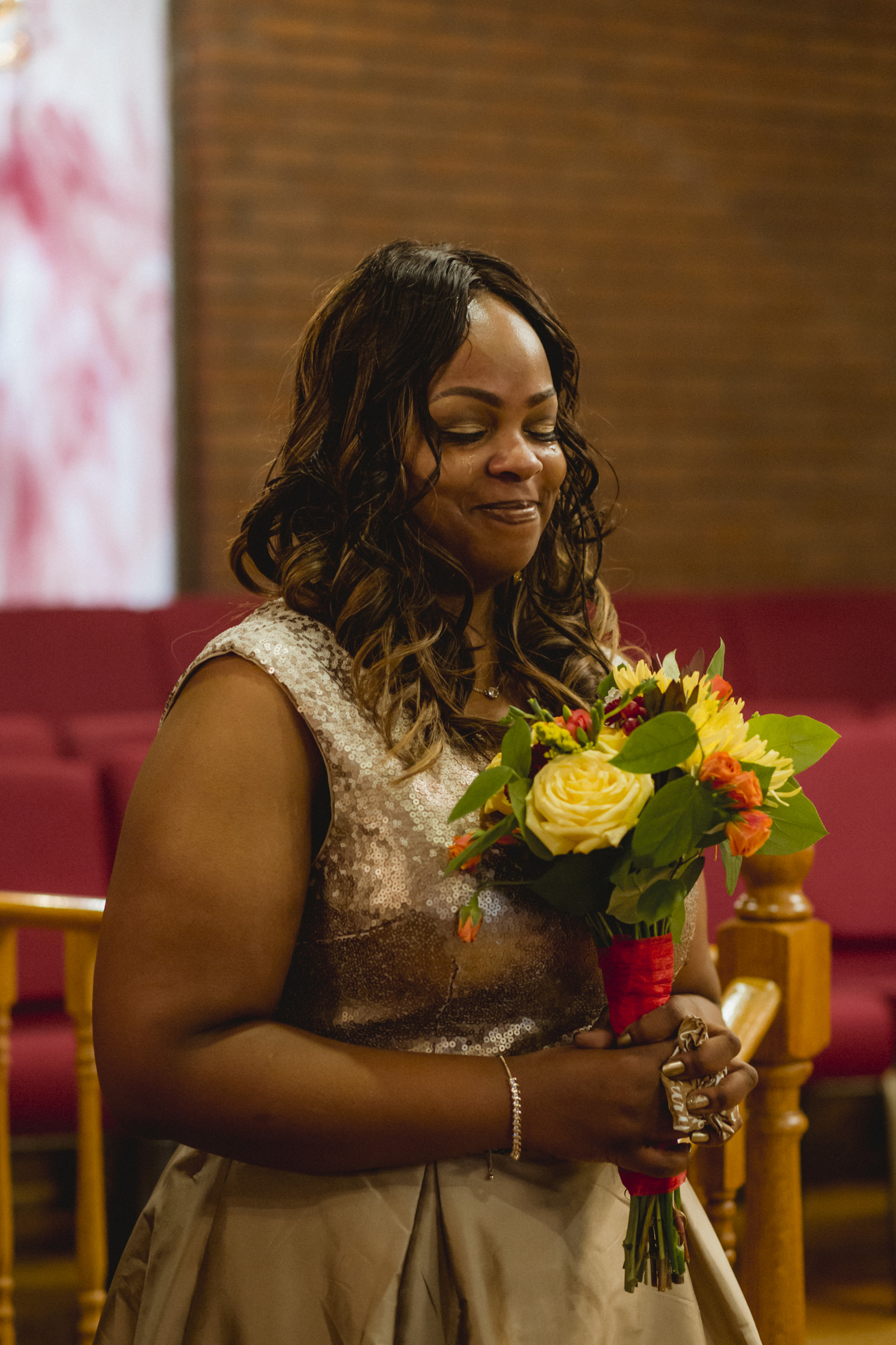 Amy Sims Photography | Maid of honor tears up as bride comes down the aisle | Greater St. Stephen United Church of God | New York Wedding Photographer | Brooklyn Church Wedding