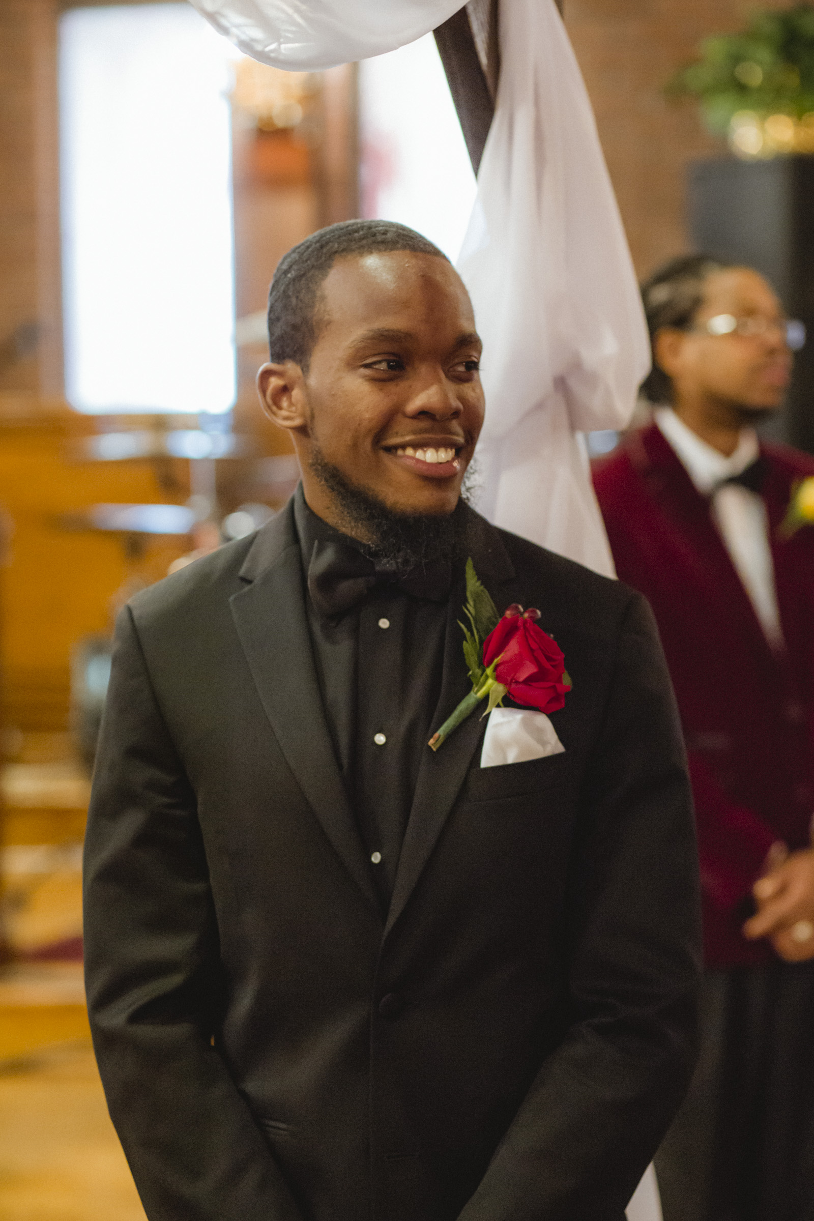 Amy Sims Photography | Groom tears up seeing bride come down the aisle | Greater St. Stephen United Church of God | New York Wedding Photographer | Brooklyn Church Wedding