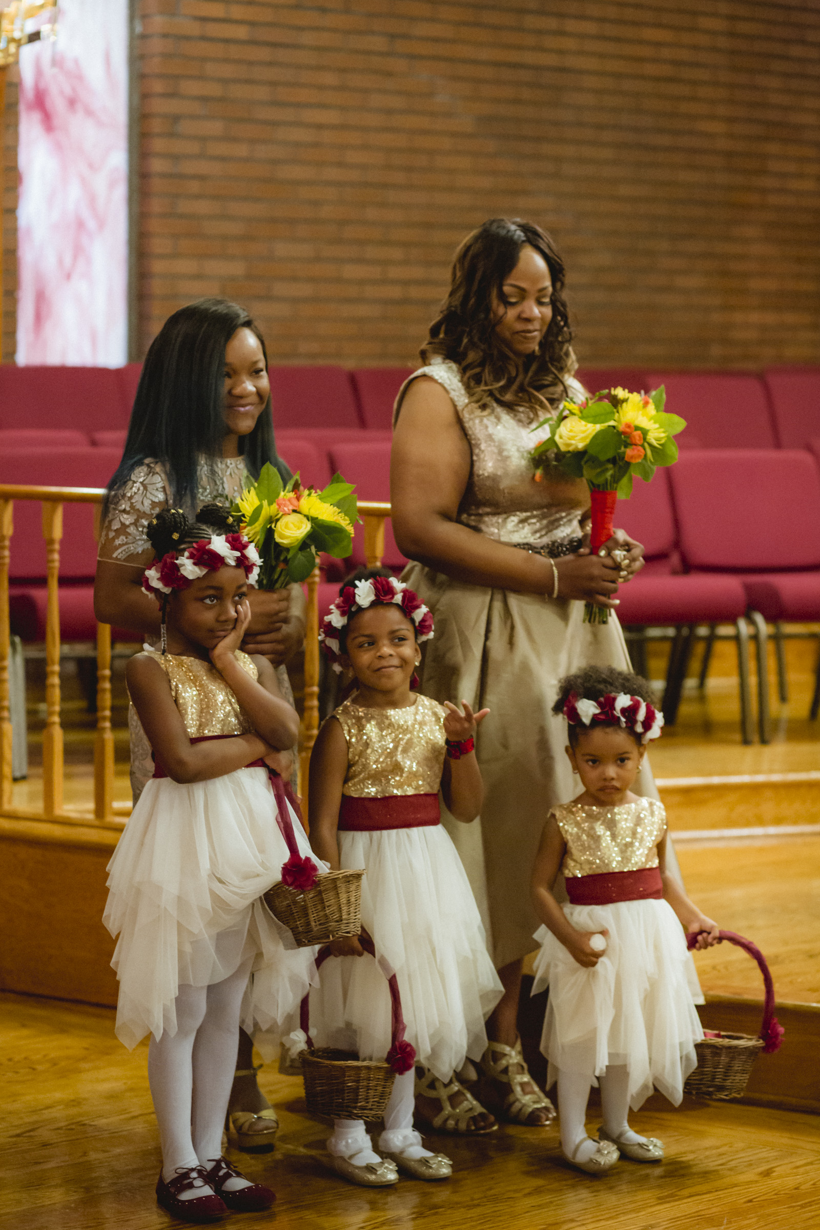 Amy Sims Photography | Bridesmaids and flower girls watch ceremony | Greater St. Stephen United Church of God | New York Wedding Photographer | Brooklyn Church Wedding