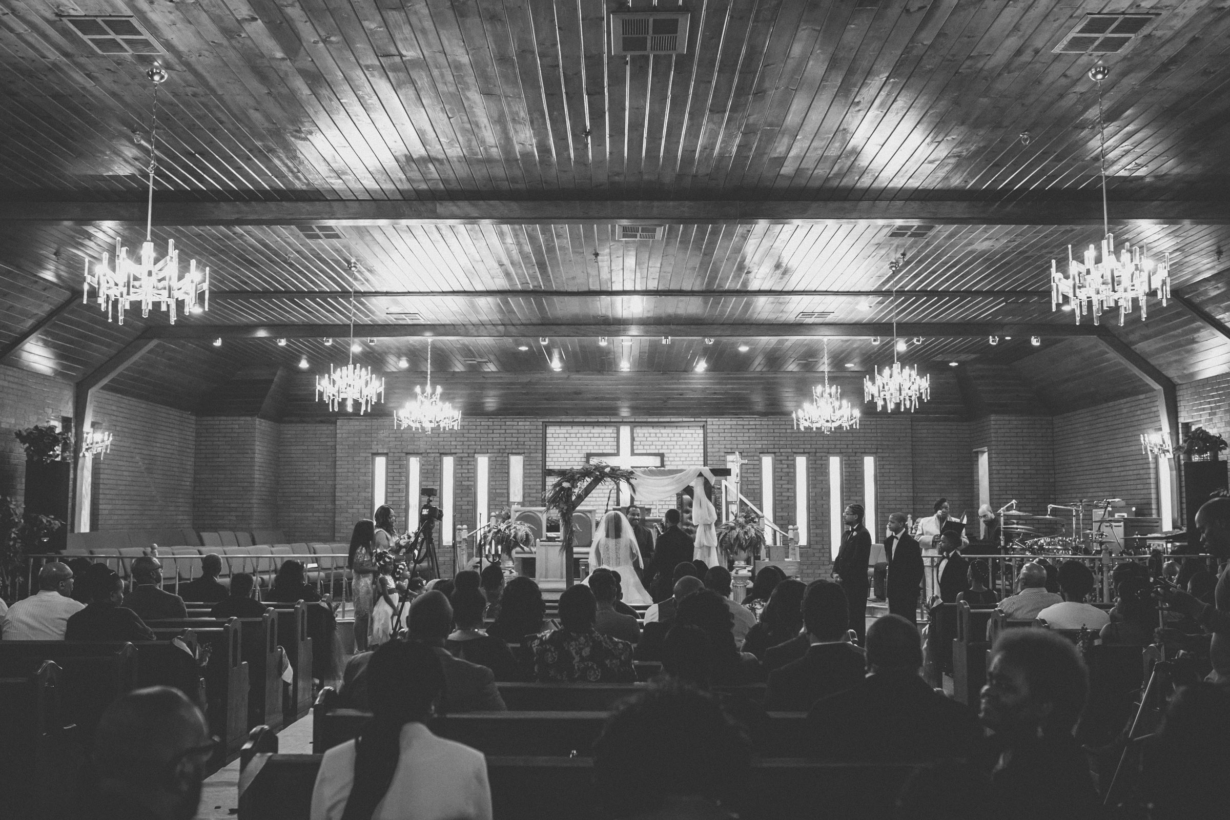Amy Sims Photography | black and white of ceremony  | Greater St. Stephen United Church of God | New York Wedding Photographer | Brooklyn Church Wedding