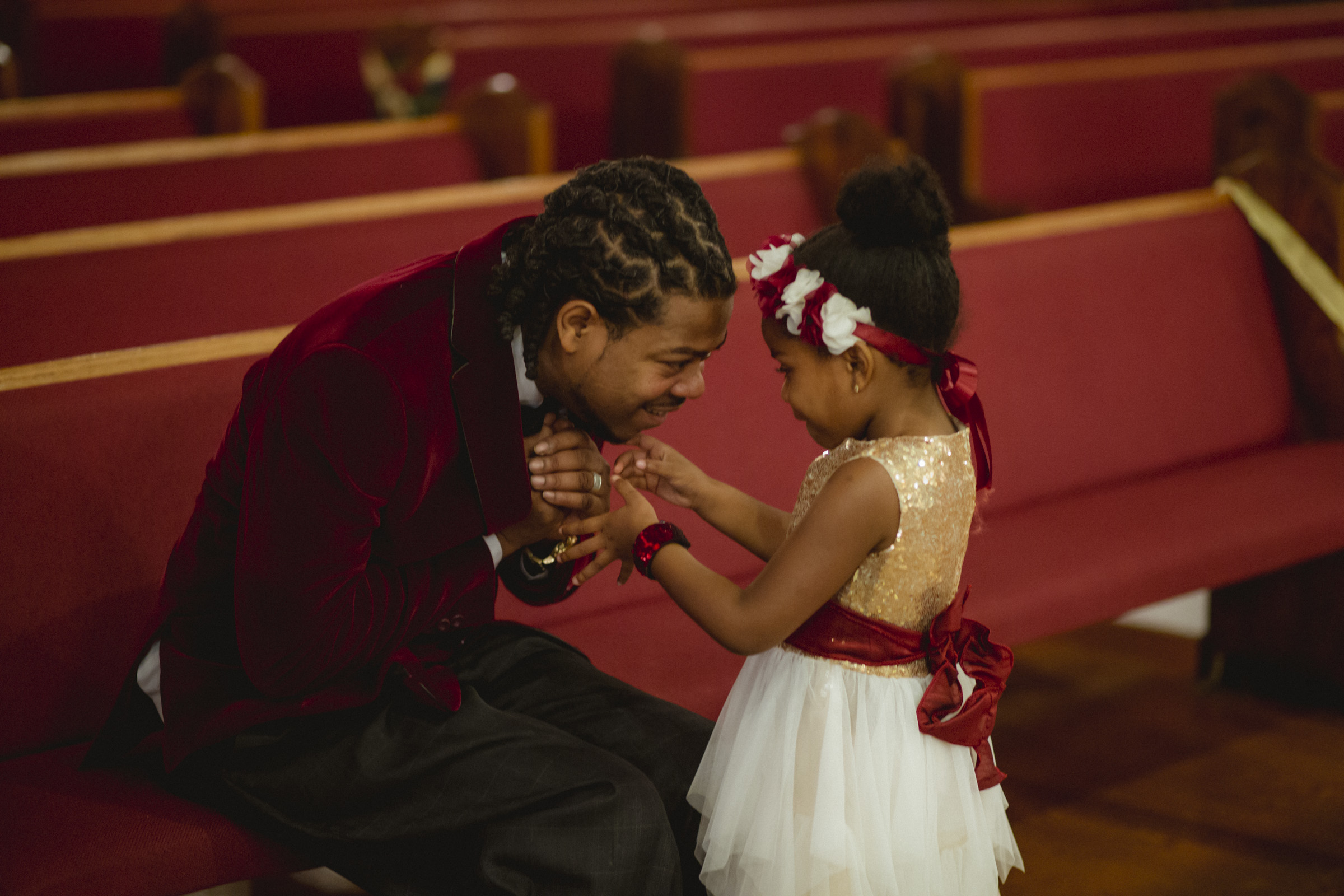 Amy Sims Photography | Flower girl and her dad | Greater St. Stephen United Church of God | New York Wedding Photographer | Brooklyn Church Wedding