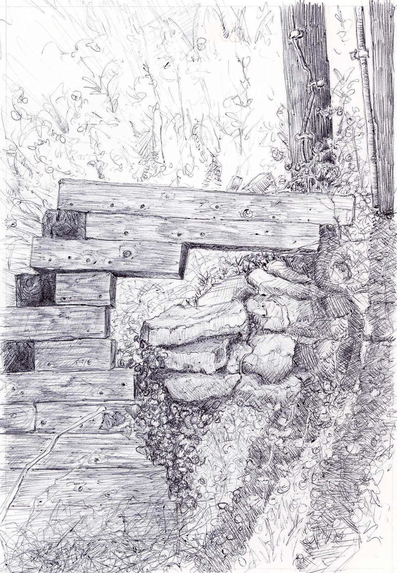 "The End of the Lane, Monroe St., 4"" 6"", ball point pen, 2014"