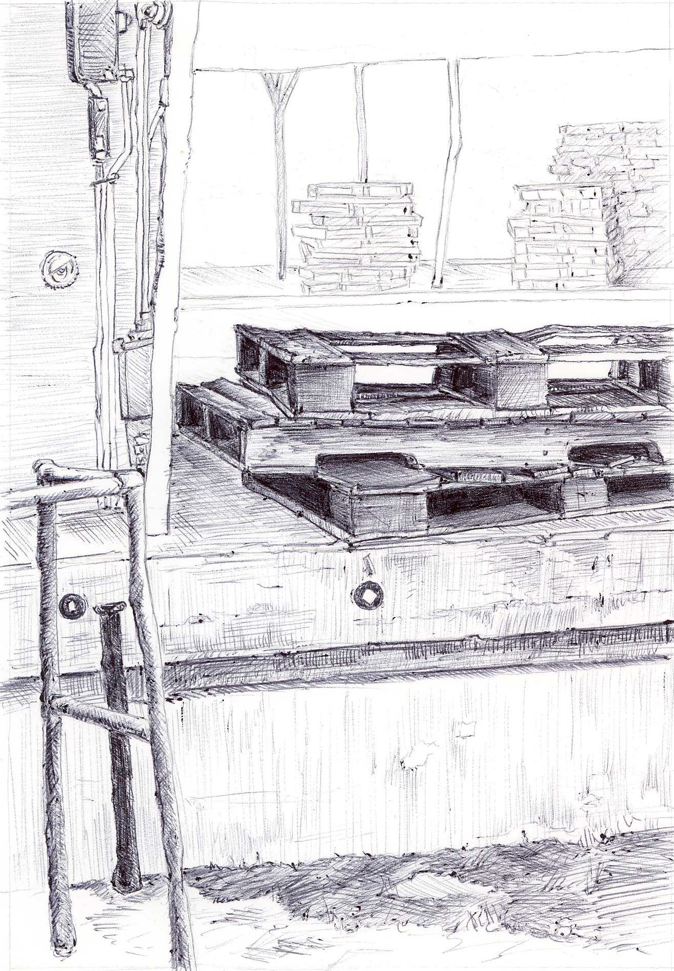 "Stacked Palettes, Old Farmer's Market, 4"" 6"", ball point pen, 2014"