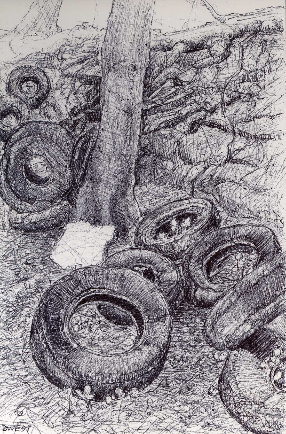 "The Tire Tree at the Water Works, 4"" 6"", ball point pen, 2014"