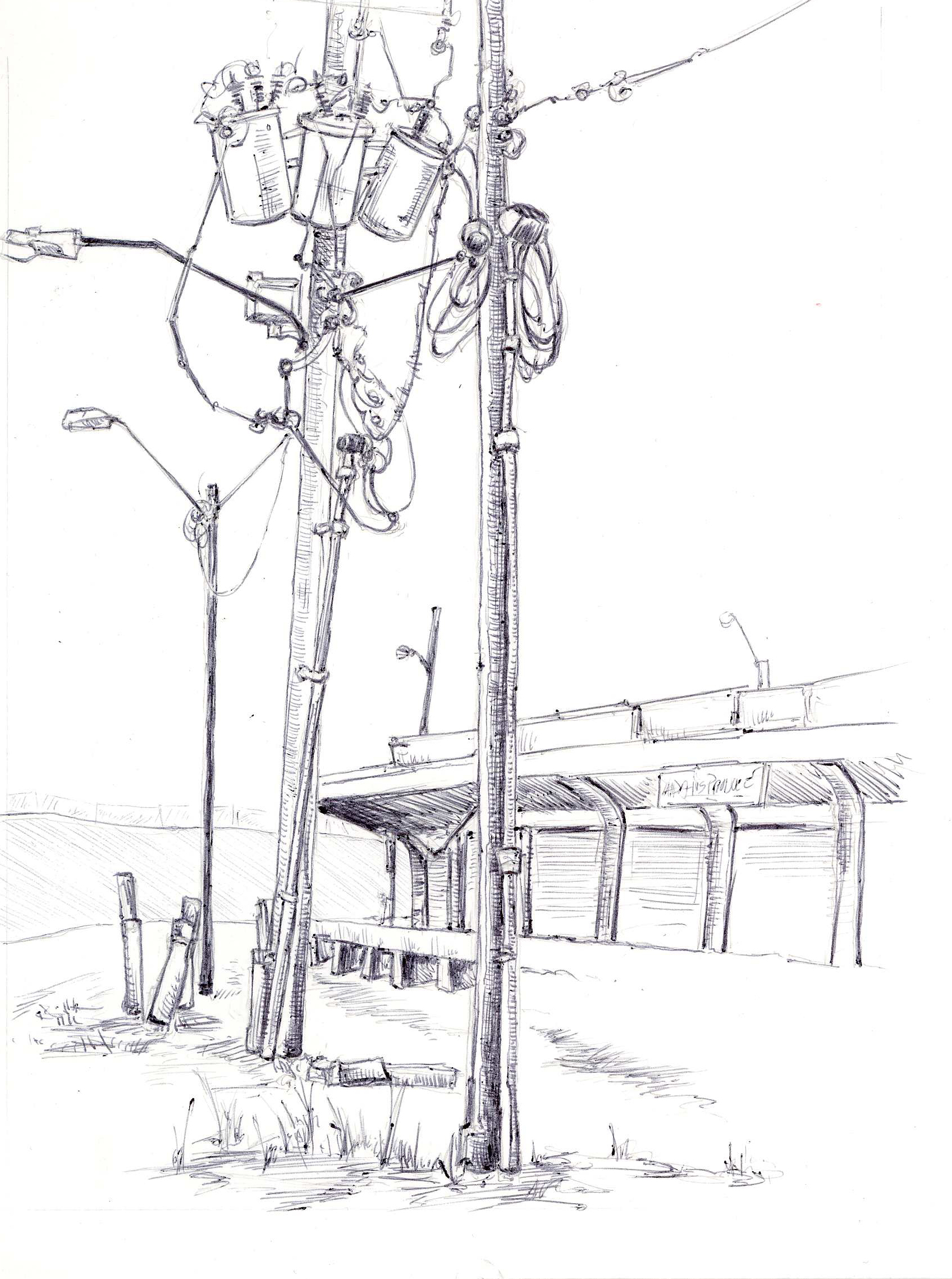 """Wires, Old Farmer's Market, 4"""" 6"""", ball point pen, 2014"""