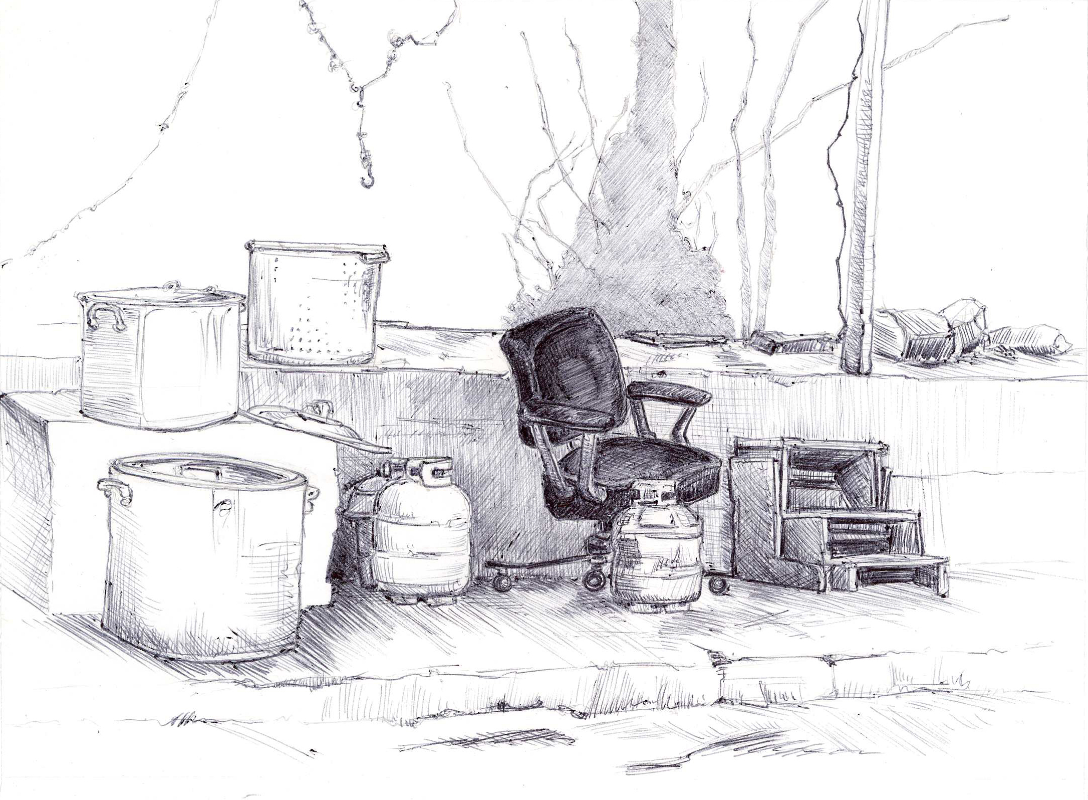 "The Hot Seat, Old Farmer's Market, 4"" 6"", ball point pen, 2014"