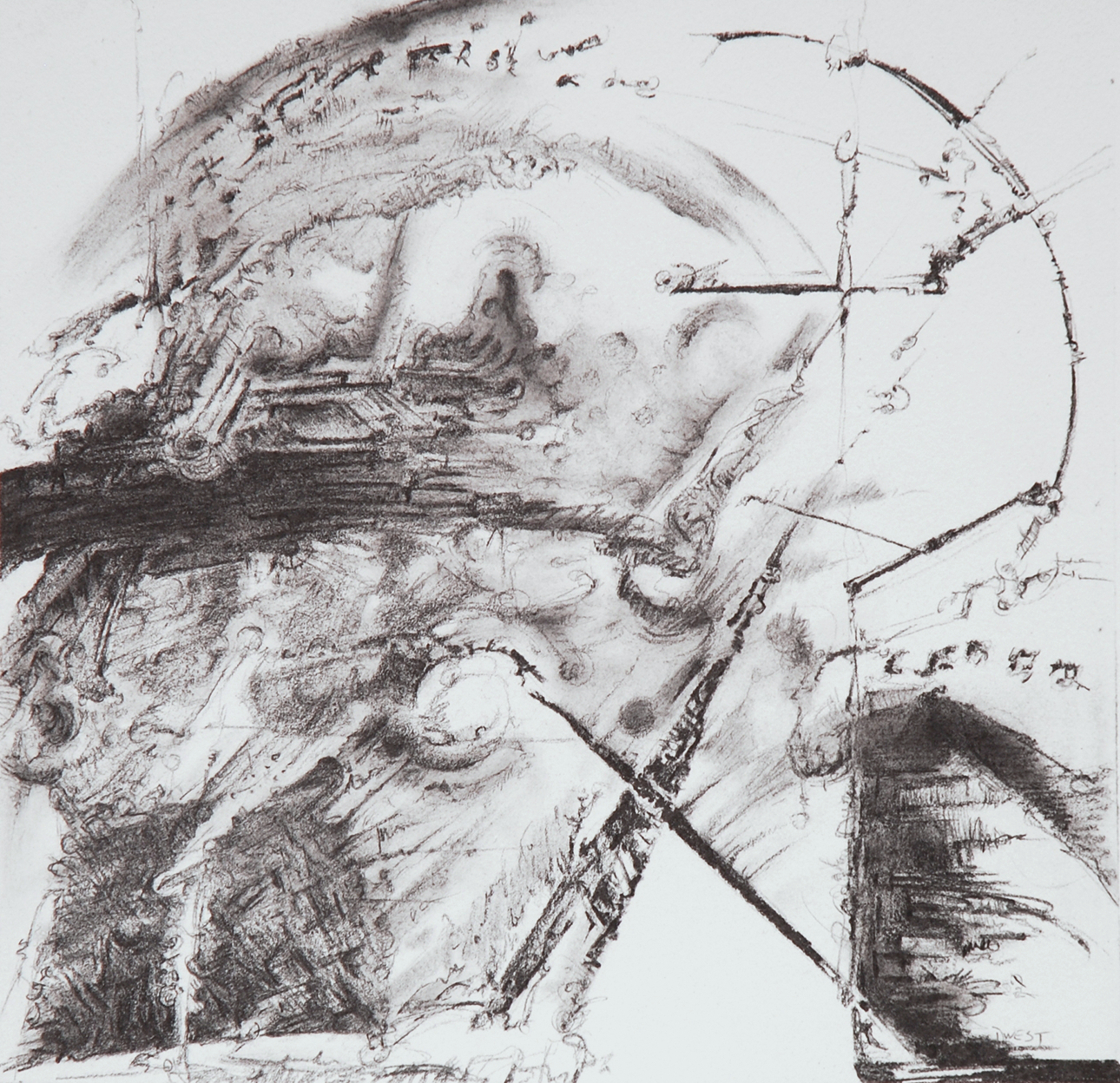 "Intercession III, 12"" x 12"", Graphite on Rives, 2013"