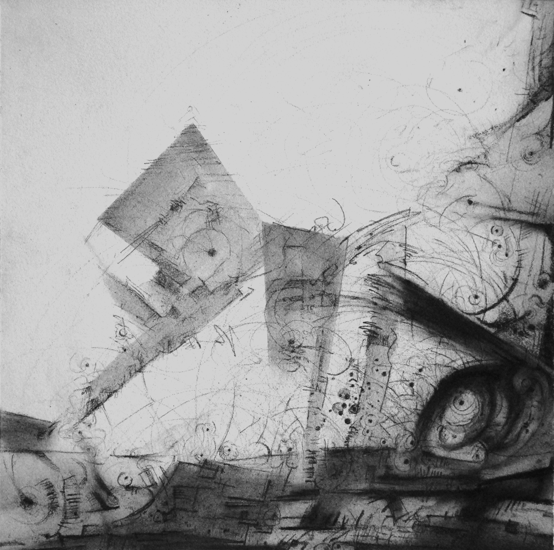 "Intercession IX, 12"" x 12"", Graphite on Rives, 2013"