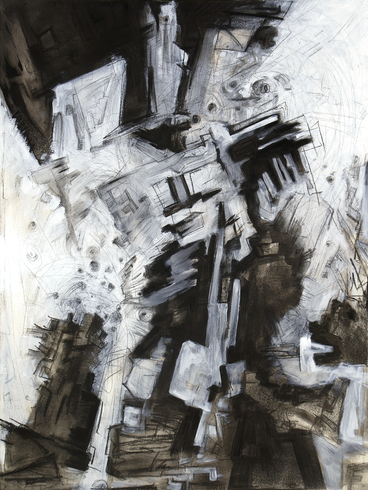 """Realization I, 23"""" x 32"""", graphite and gesso on panel, 2013"""