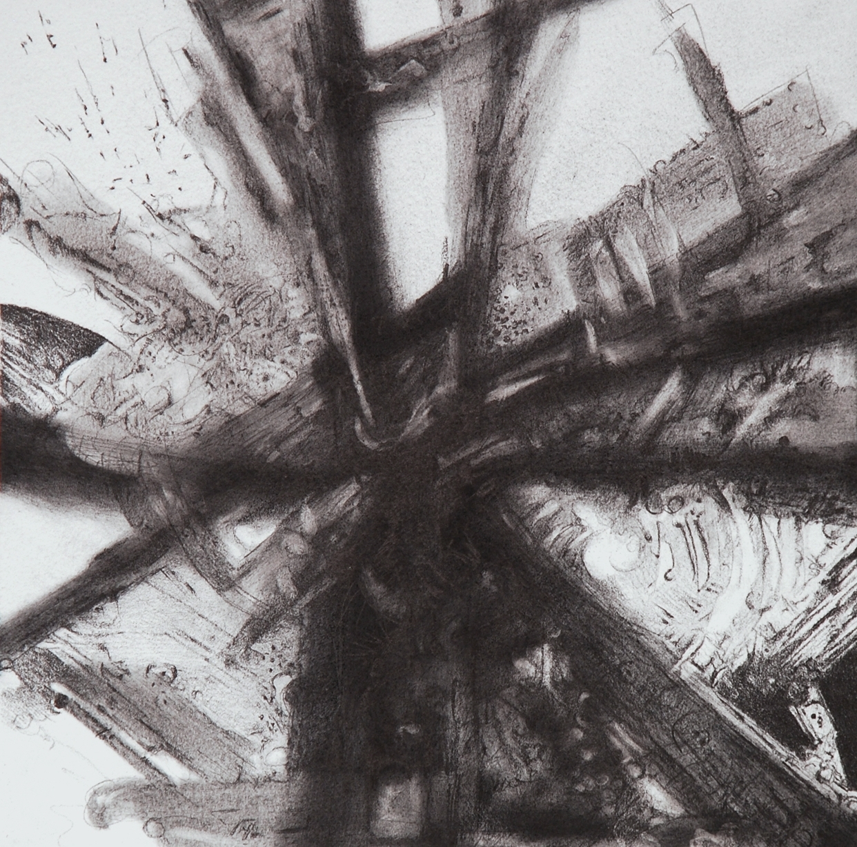"Intercessions II, 12"" x 12"", Graphite on Rives, 2013"