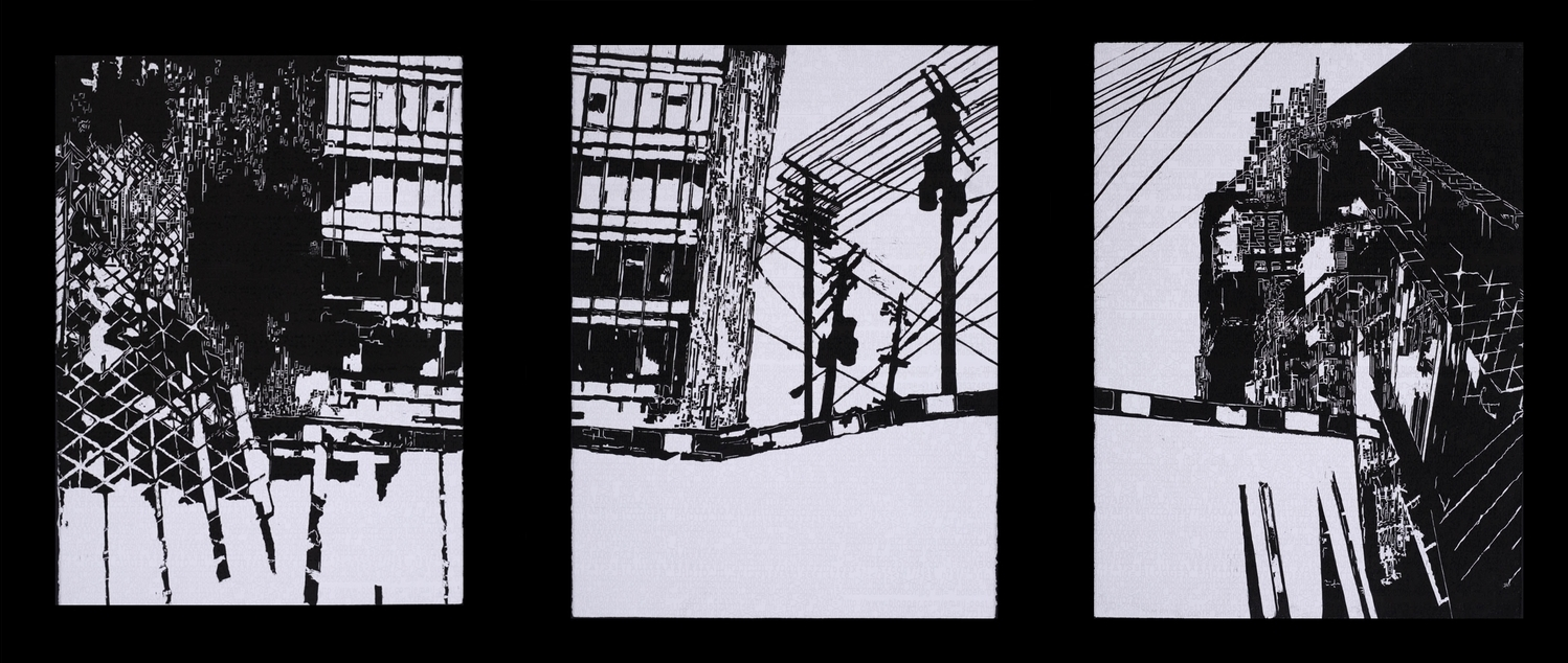 "Building Codes, 30"" x 66"", Relief and screen print on Rives, 2012"