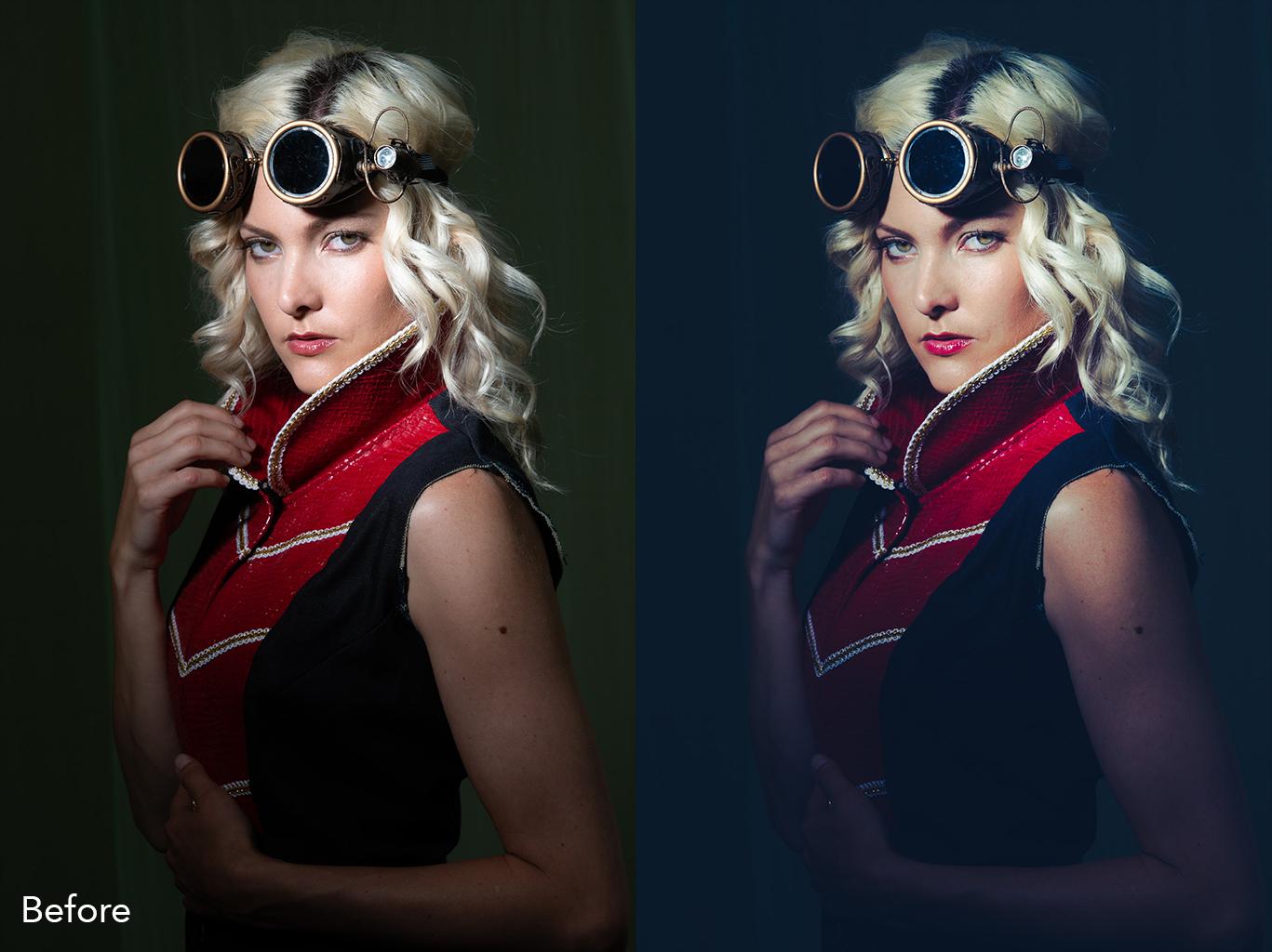 Untouched photo with Portrait Spearmint preset applied.