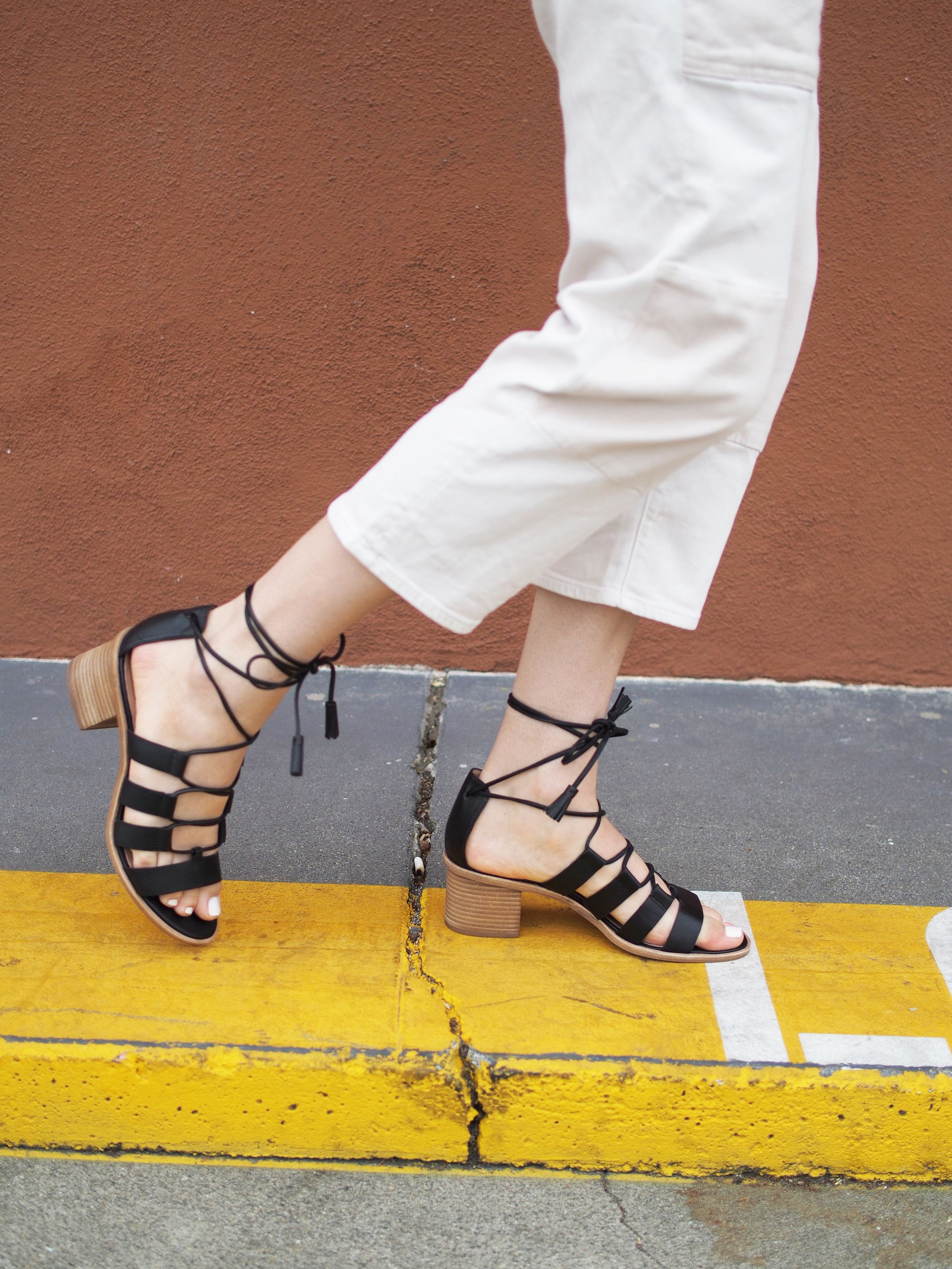 Leo and Sage Cashmere Madewell Daniella Lace-Up Sandals Relaxed Look x Taylr Anne