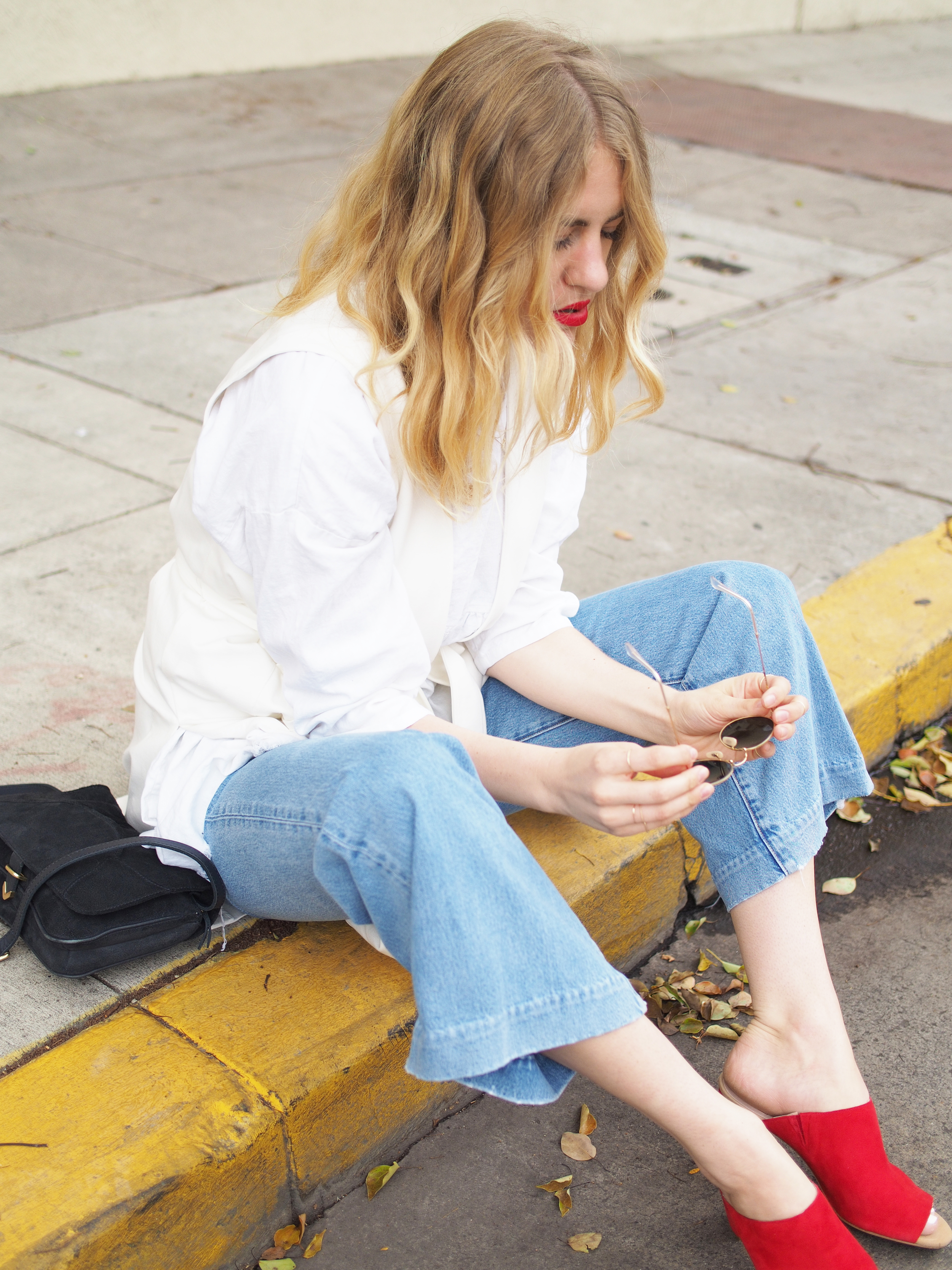 Charlotte Stone Morley Red Mules M.i.h. Jeans Vince x Taylr Anne Street Style