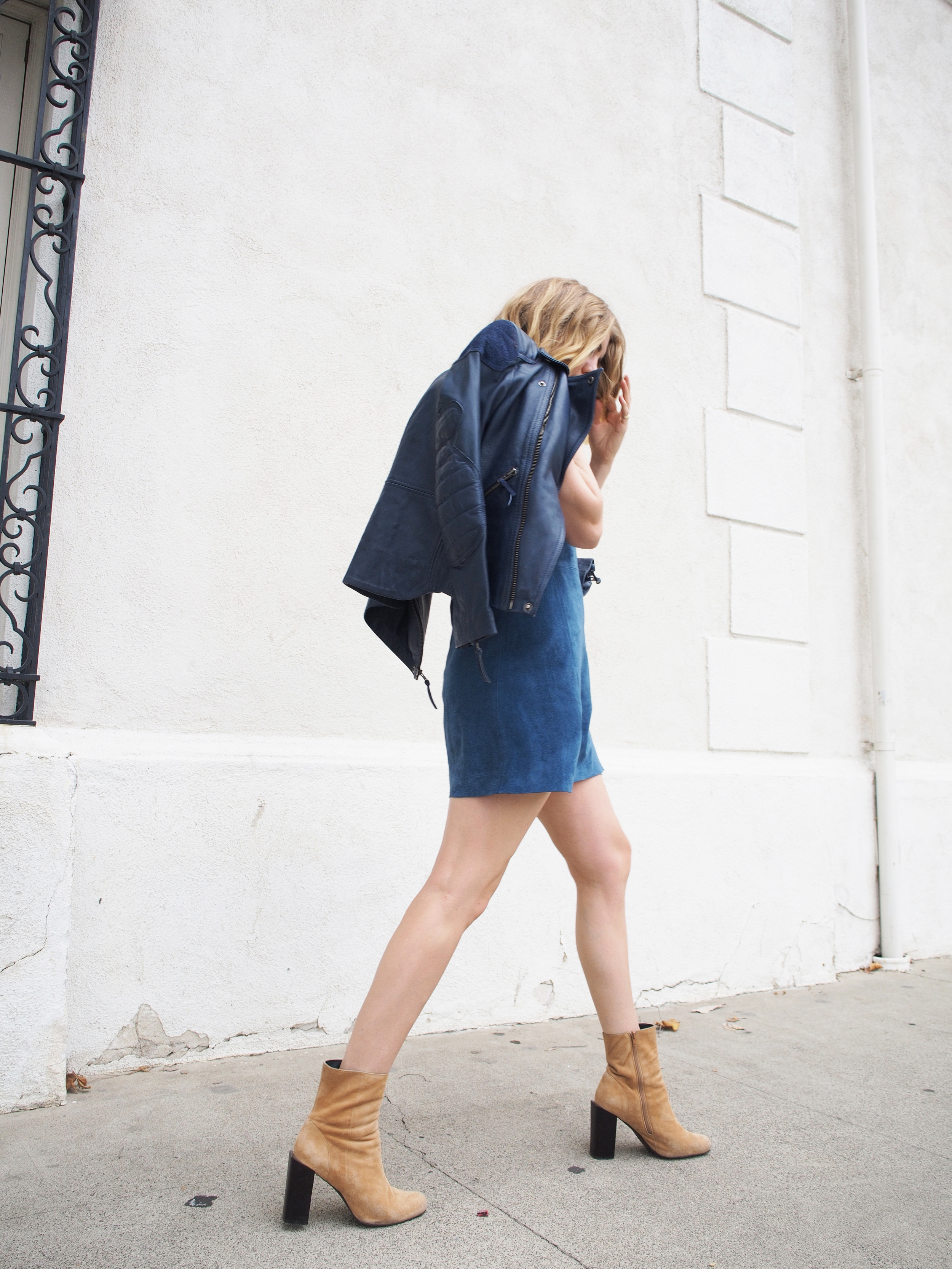 M.i.h. Jeans Lorca Suede Dress Acne Leather Jacket Jeffrey Campbell Suede Boots Street Style x Taylr Anne