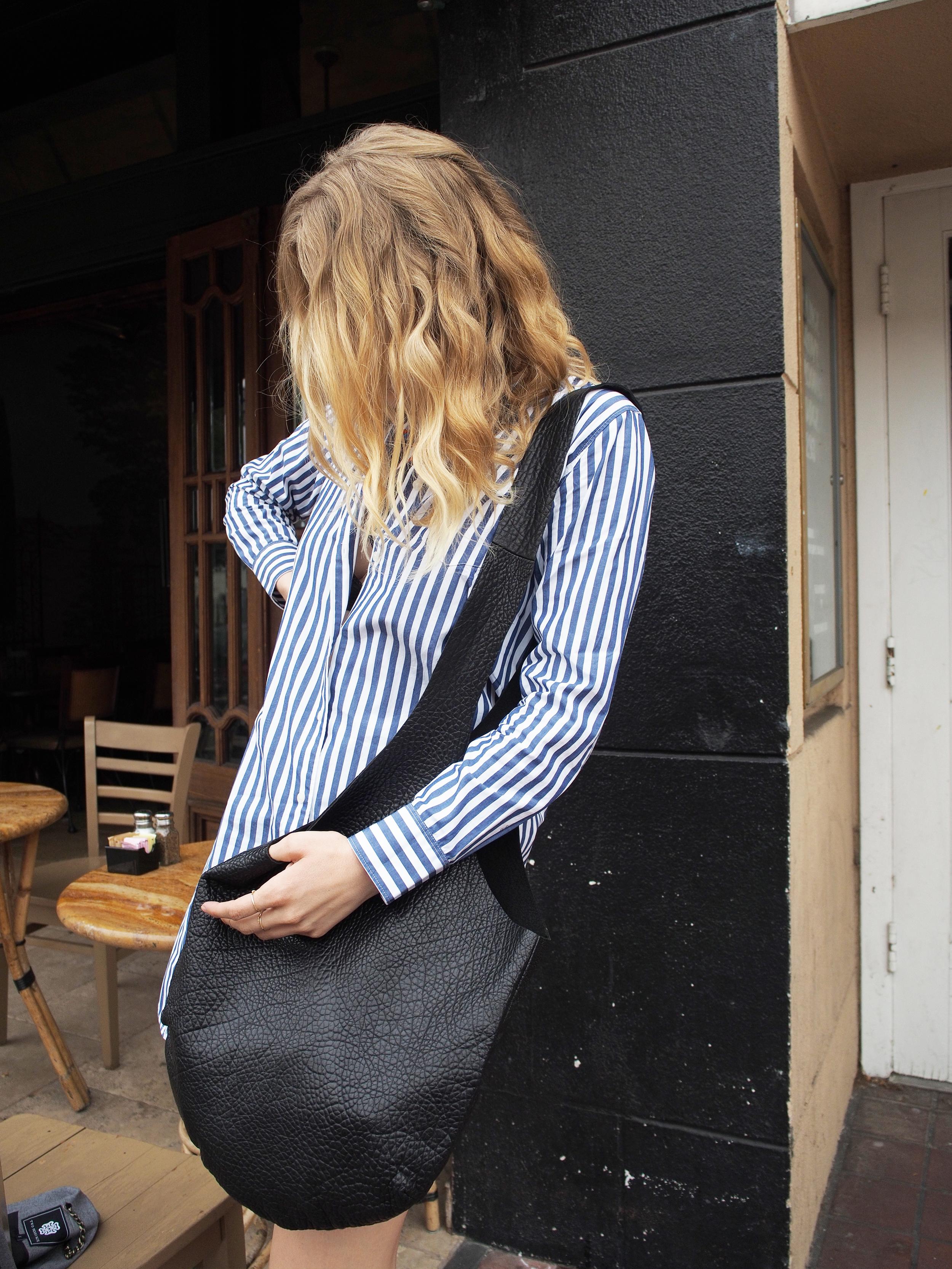 Everlane Striped Poplin Shirt Dress Two Penny Blue Vest MeChar Tote Madewell Sandals Coffee Street Style Look x Taylr Anne