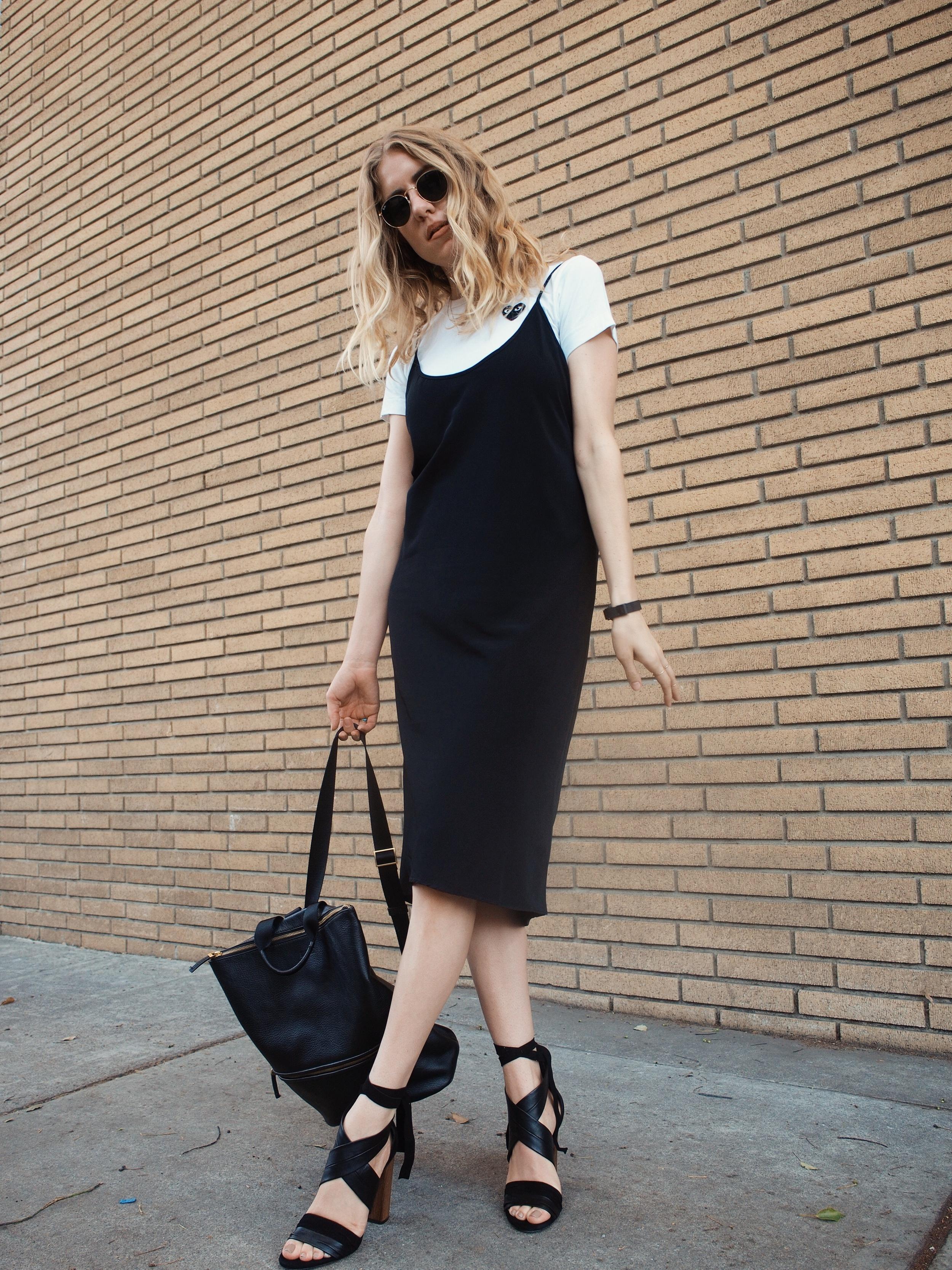 Comme des Garçons Basic Tee The Sept Label Slip Dress Vince Beatrice Sandal Hare+Hart Backpack Street Style Taylr Anne www.taylranne.com