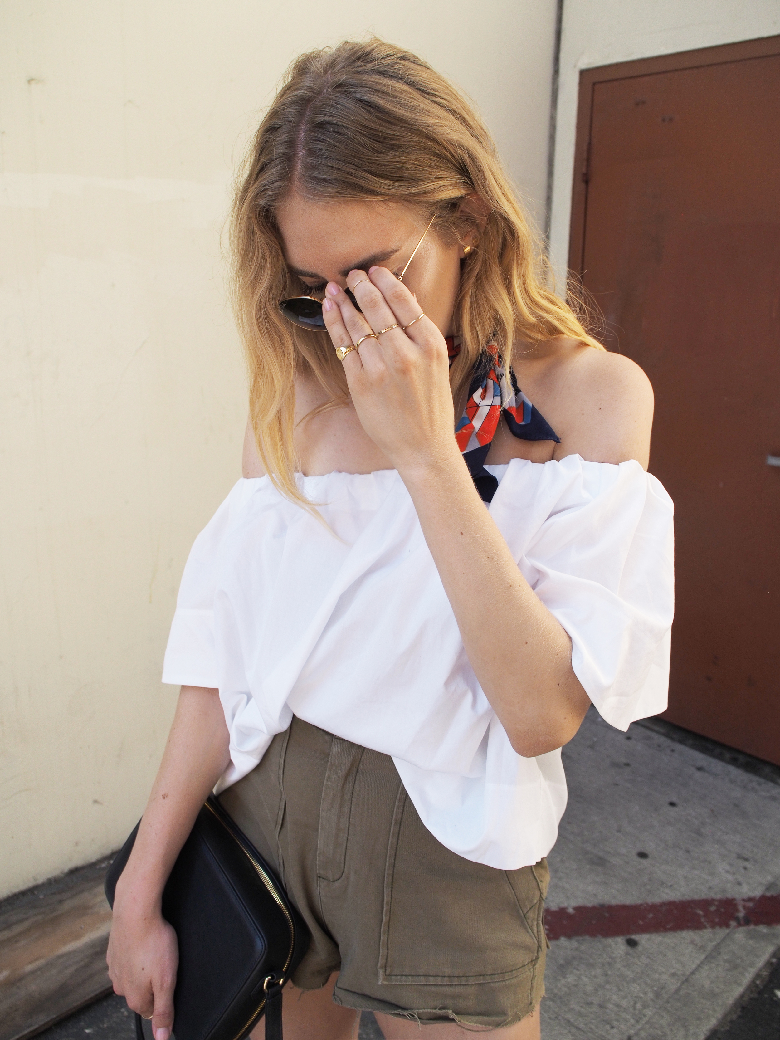 Vince Off The Shoulder Blouse Free People Gunner Cargo Shorts Manufacture Pascal Lady Officer Past Midnight Silk Neck Scarf Red Mules Charlotte Stone Morley Flame Street Style Taylr Anne www.taylranne.com