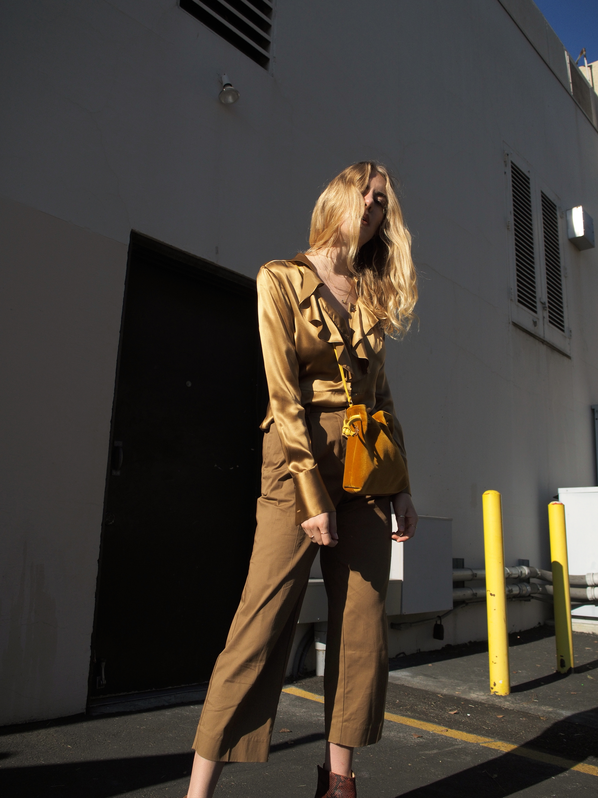 Vintage Blouse Everlane Twill Crop Pants RayBan Round Metal Sunglasses Clare V. Petit Henri Purse ATP Atelier Bianca Rust Snakeskin Booties Golden Hues Vintage Ford Mustang Street Style Taylr Anne www.taylranne.com