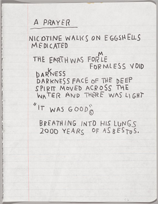 Jean-Michel Basquiat,  Untitled Notebook  (page), circa 1987, wax crayon on ruled notebook paper, 24.5 x 19.4 cm, Collection of Larry Warsh. Copyright © Estate of Jean-Michel Basquiat, all rights reserved. Licensed by Artestar, New York. Photo: Sarah DeSantis, Brooklyn Museum