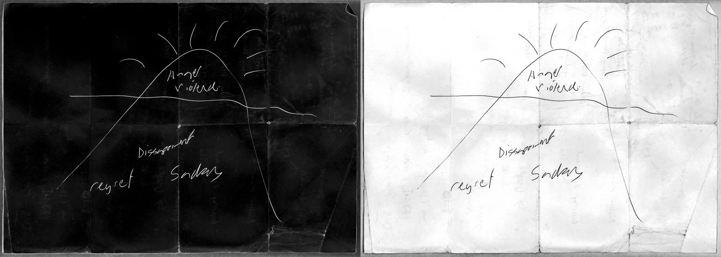Matt Huppatz,  Man Mountain (Night)  (left),  Man Mountain (Day)  (right) 2012. Giclee prints on art paper, each 59.5cm x 84cm. Courtesy of the artist.
