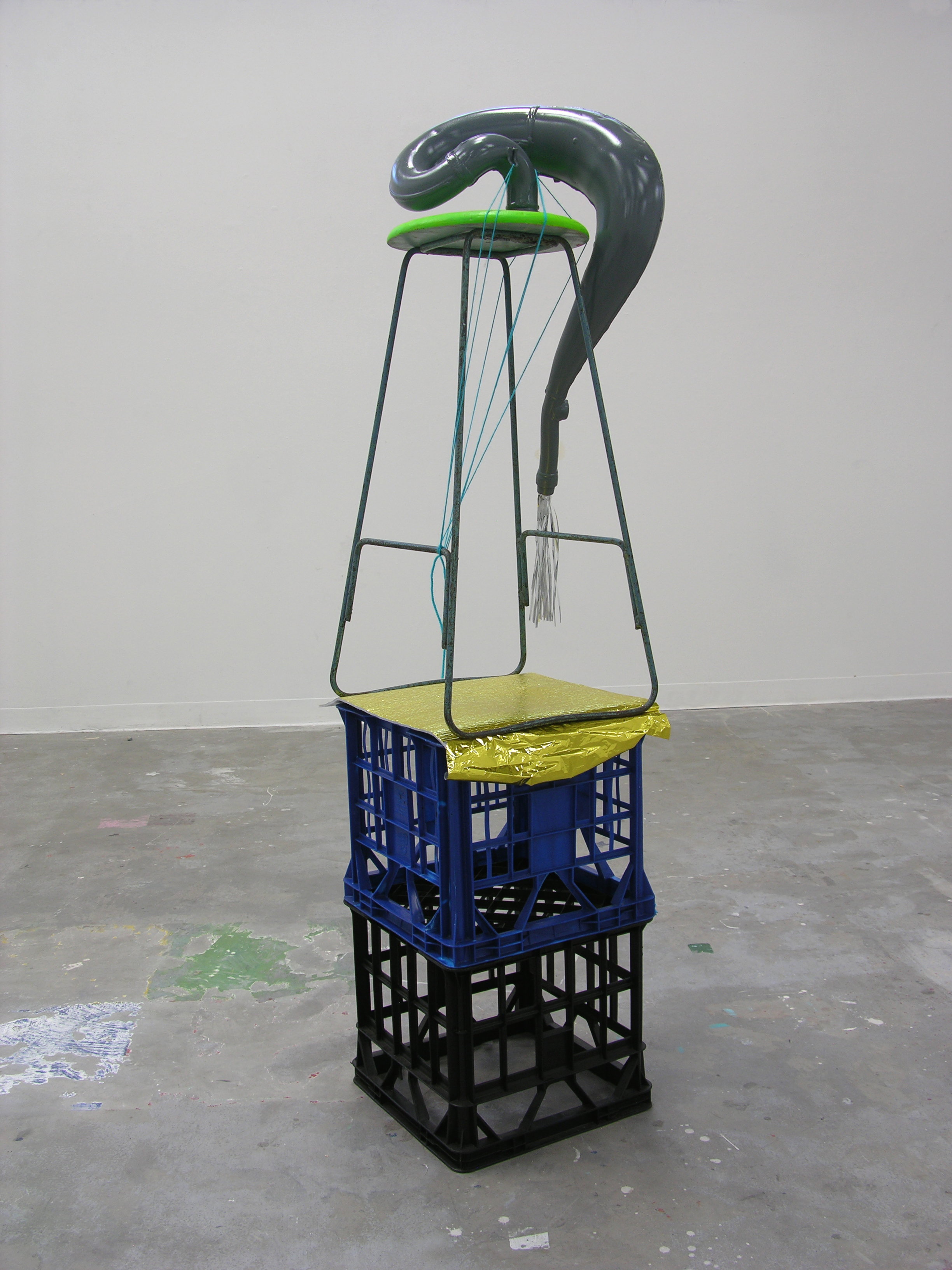 Matt Huppatz,  Party Leech  2009. Found objects, gold insulation foil, silver wrapping foil. Courtesy of the artist.
