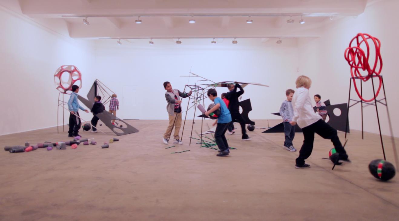 Eva Rothschild,  Boys and Sculpture , 2012, video still, courtesy the artist and Stuart Shave Modern Art, London