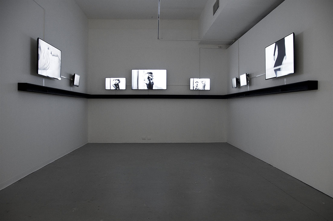 Peter Kennedy,  Fugue  1971–2015. Eight-channel digital video and sound installation, monitors, speakers, dimensions variable. Installation view, Australian Experimental Art Foundation, 2016. Photo: Alex Lofting. Image courtesy the artist and Milani Gallery, Brisbane.