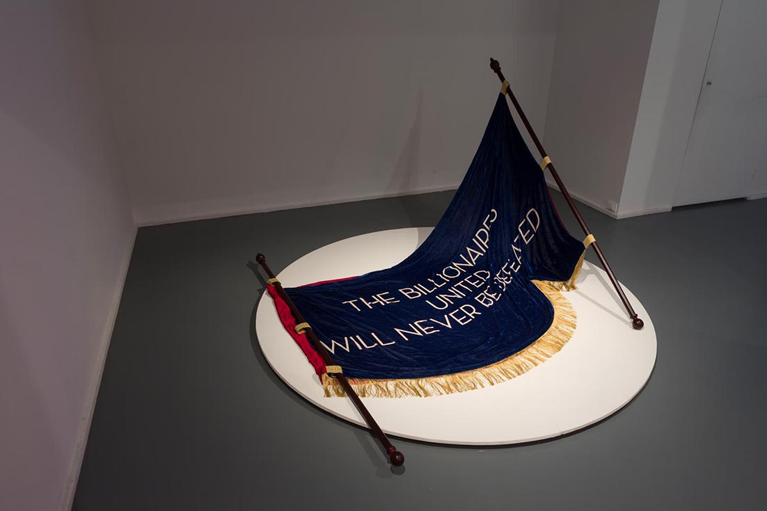 Deborah Kelly,  Night Falls in The Valley , 2014, pigment ink on silk velvet, silk lining, vintage trims, wood, diamond. Installation view Contemporary Art Centre of SA. Photograph by Sam Roberts.