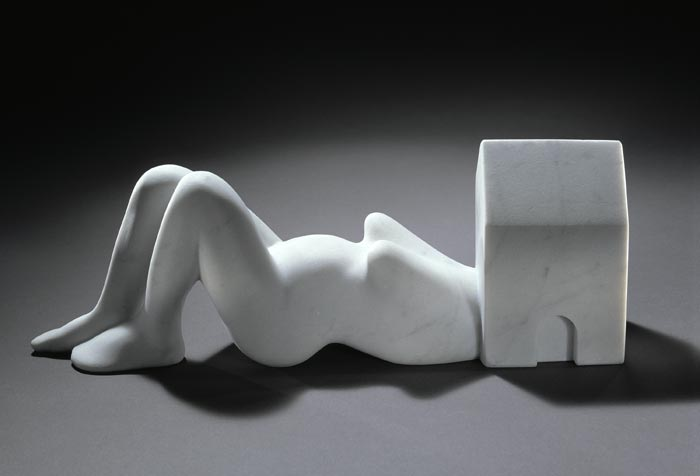 Louise Bourgeois,  Femme Maison , 1994, white marble, collection of the artist. Courtesy Cheim & Read, New York. Photo: Christopher Burke. Photo Credit: © The Estate of Louise Bourgeois