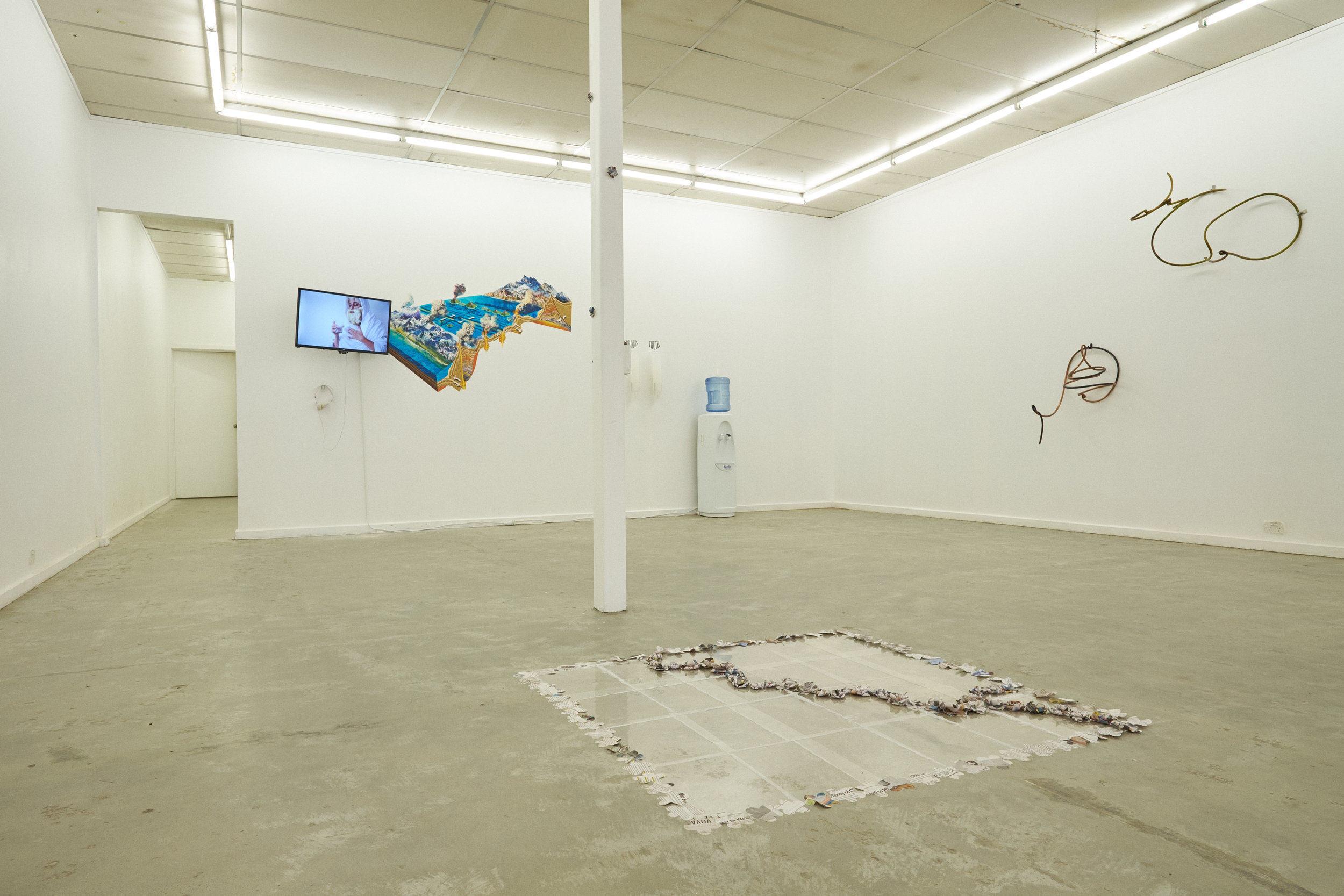 Optimal Prime Time  installation view showing work by Nerissa Kyle, Grace Marlow, Alex Degaris, Madison Bycroft, Alex Perisic and Isabella Mahoney. Photography by Christopher Arblaster. Sister Gallery, Adelaide, 2017.