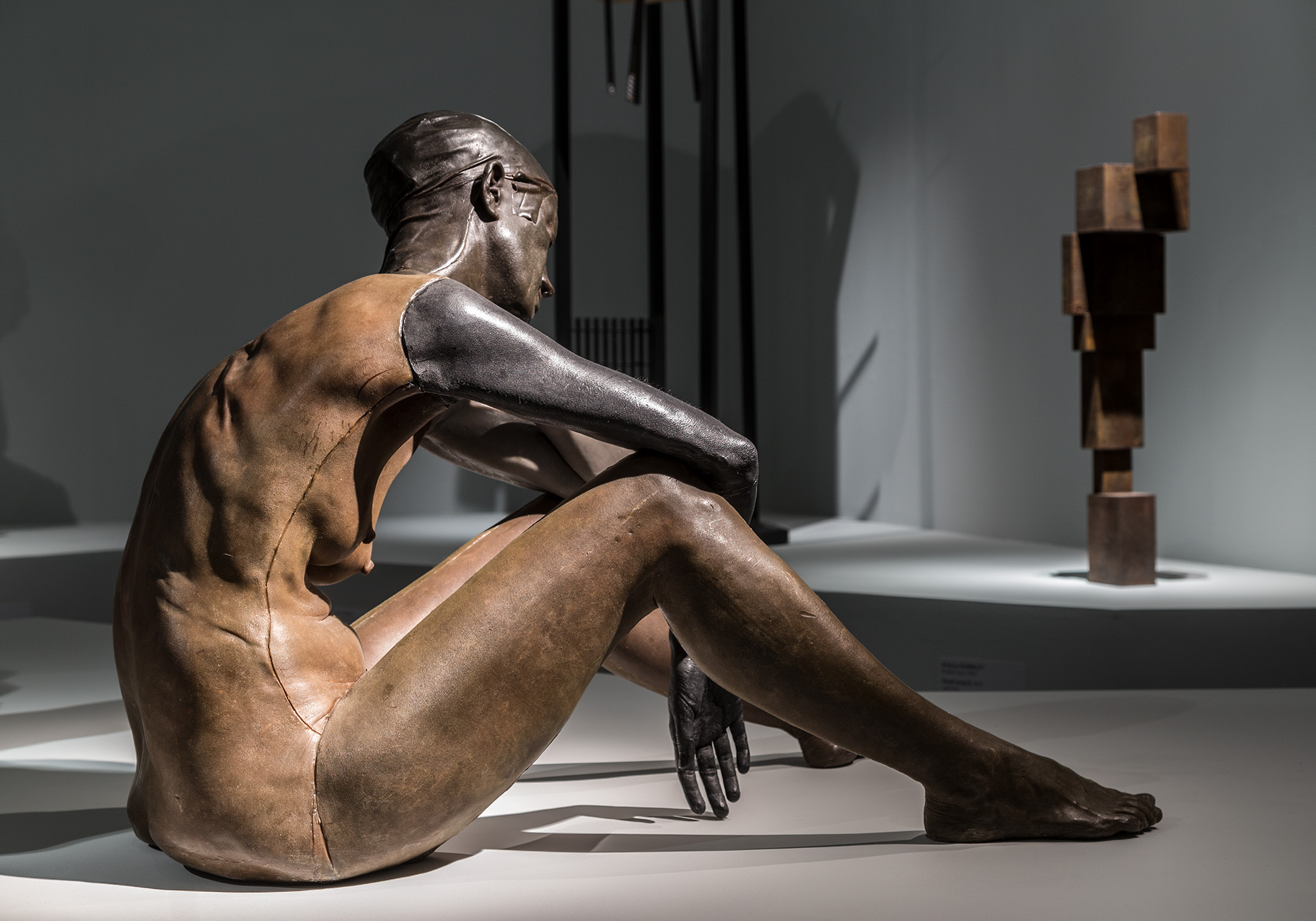 Installation view  Versus Rodin: bodies across space and time , Art Gallery of South Australia, 2017, featuring Ugo Rondinone in  The body across space and time.