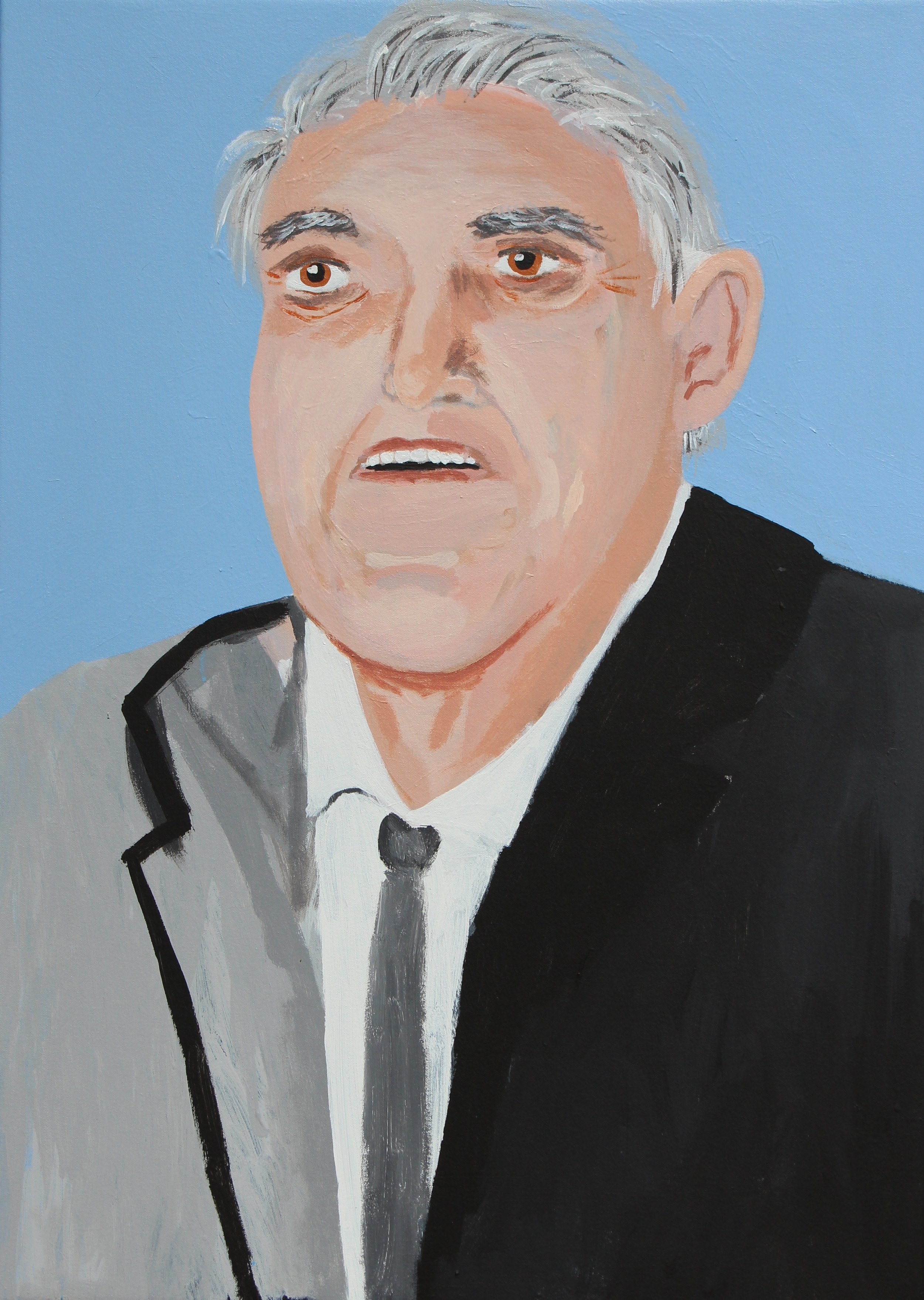 Vincent Namatijira,  The Richest (Harry Triguboff),  2017, acrylic on canvas, 91 x 67 cm. Courtesy of the artist, THIS IS NO FANTASY + dianne tanzer gallery and Iwantja Arts.