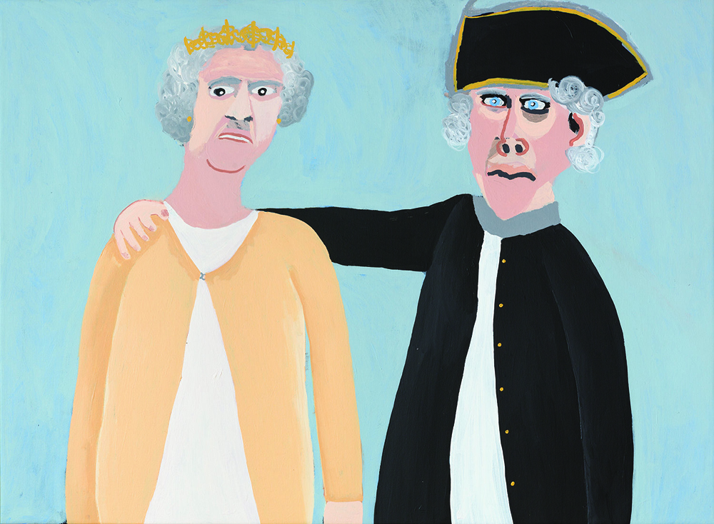 Vincent Namatjira,  Queen Elizabeth and Captain Cook , 2015, acrylic on canvas, 91 x 122 cm. Courtesy of the artist, THIS IS NO FANTASY + dianne tanzer gallery and Iwantja Arts