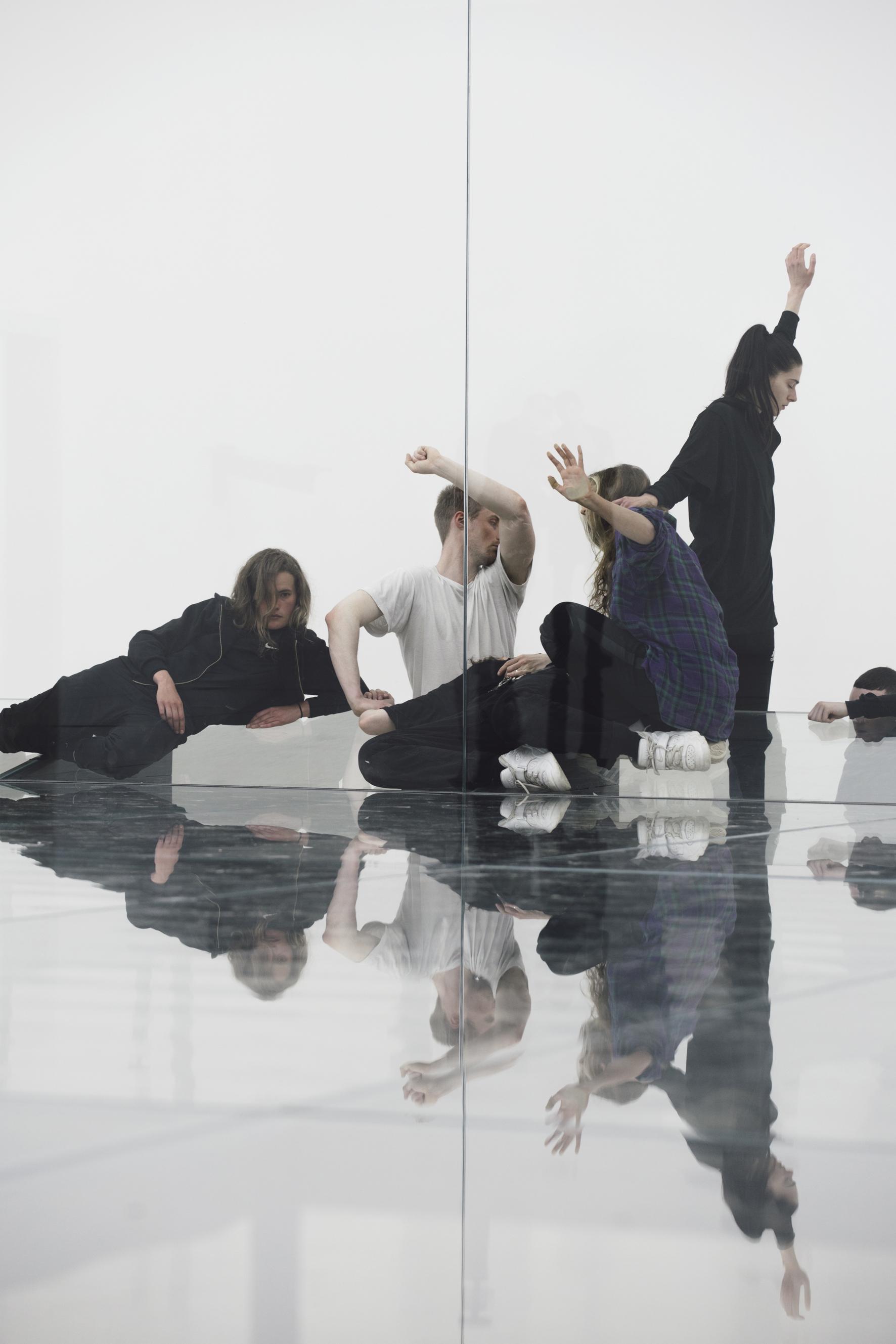 Lea Welsch, Billy Bultheel, Emma Daniel, Franziska Aigner and Mickey Mahar in Anne Imhof:  Faust , 2017; © Anne Imhof, photo: Nadine Fraczkowski