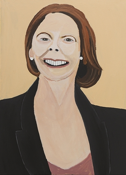 Vincent Namatijira,  Julia Gillard,  2016, acrylic on canvas, 91 x 67 cm. Courtesy of the artist, THIS IS NO FANTASY + dianne tanzer gallery and Iwantja Arts.