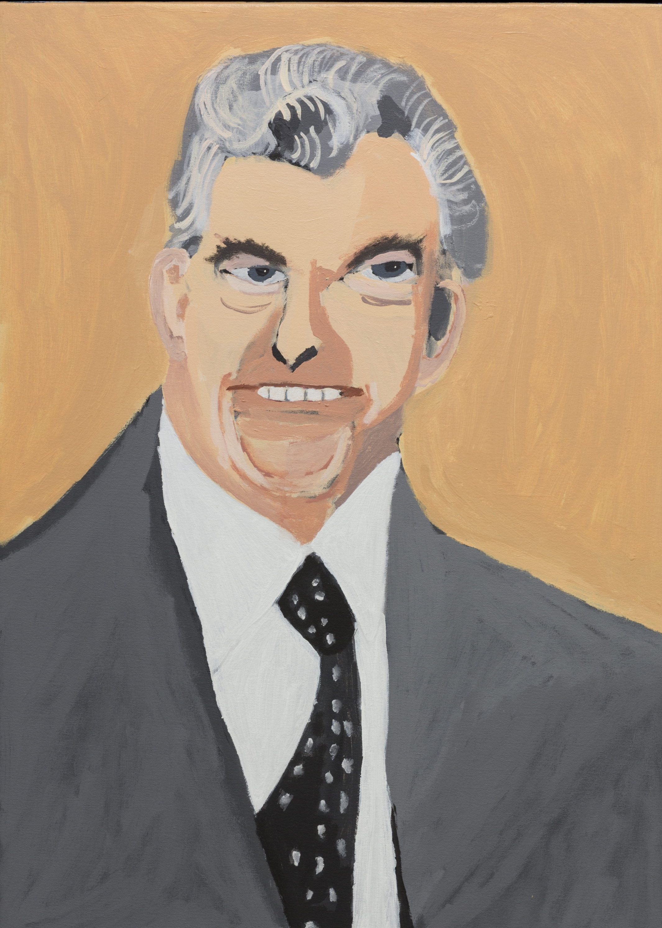 Vincent Namatijira,  Bob Hawke,  2016, acrylic on canvas, 91 x 67 cm. Courtesy of the artist, THIS IS NO FANTASY + dianne tanzer gallery and Iwantja Arts.