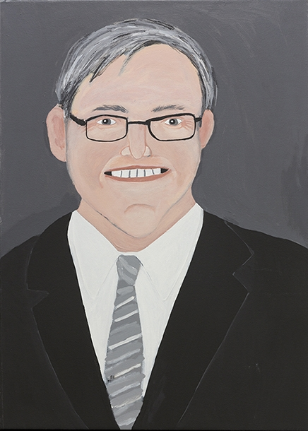 Vincent Namatijira,  Kevin Rudd,  2016, acrylic on canvas, 91 x 67 cm. Courtesy of the artist, THIS IS NO FANTASY + dianne tanzer gallery and Iwantja Arts.