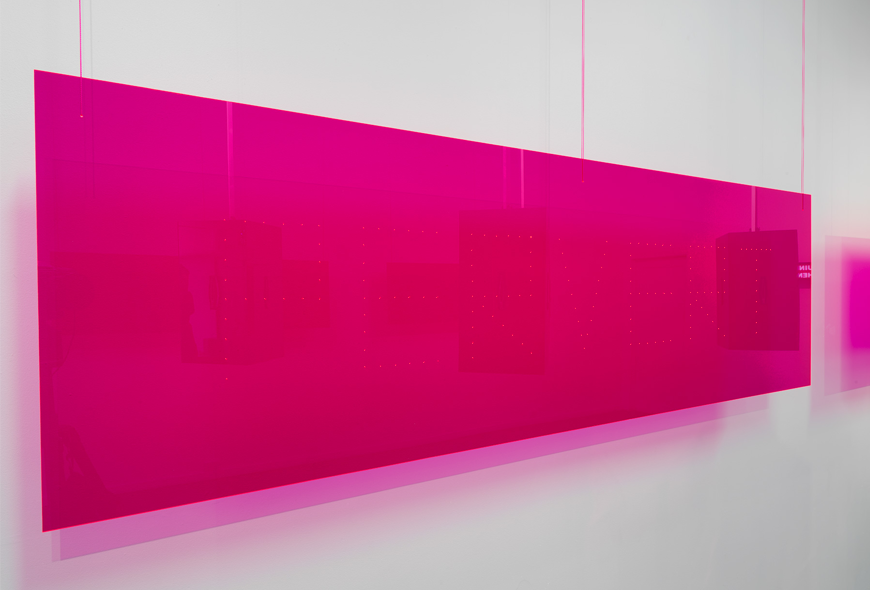 Derek Sargent,  Pervert , 2018, fluro pink acrylic, 200 x 60 cm. Installation view, FELTspace, Adelaide. Photo Grant Hancock