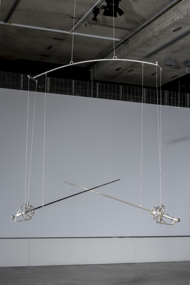 Roy Ananda,  Untitled,  2015, swords, steel, springs, motor and micro-controller. Photograph by Sam Roberts. Image courtesy the artist.