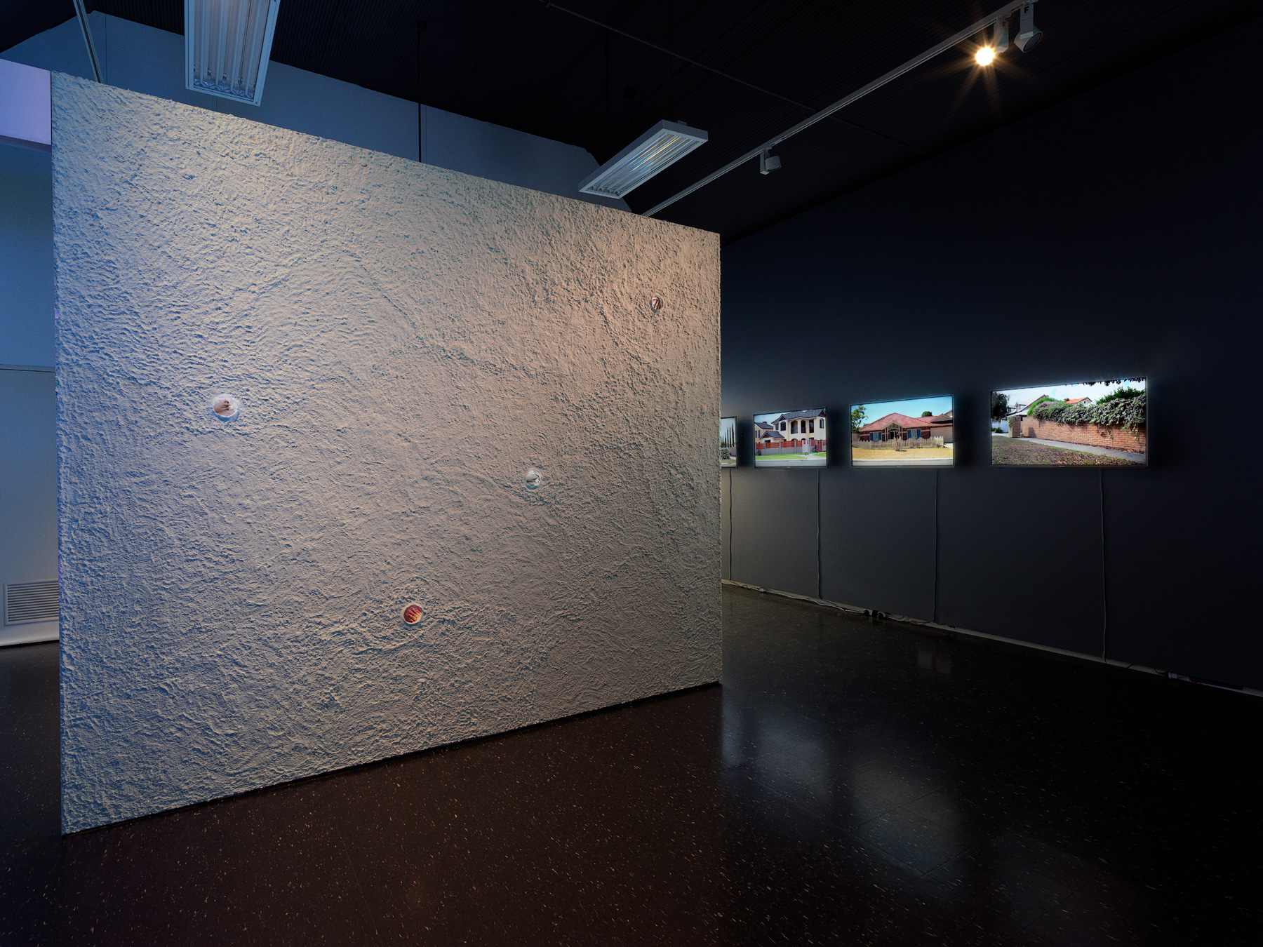 Installation view:  TRACK  featuring Kate Power (left) and Tanya Lee (right), Adelaide Central Gallery, 2017, curated by Sasha Grbich and Andrew Purvis. Photography by Grant Hancock.