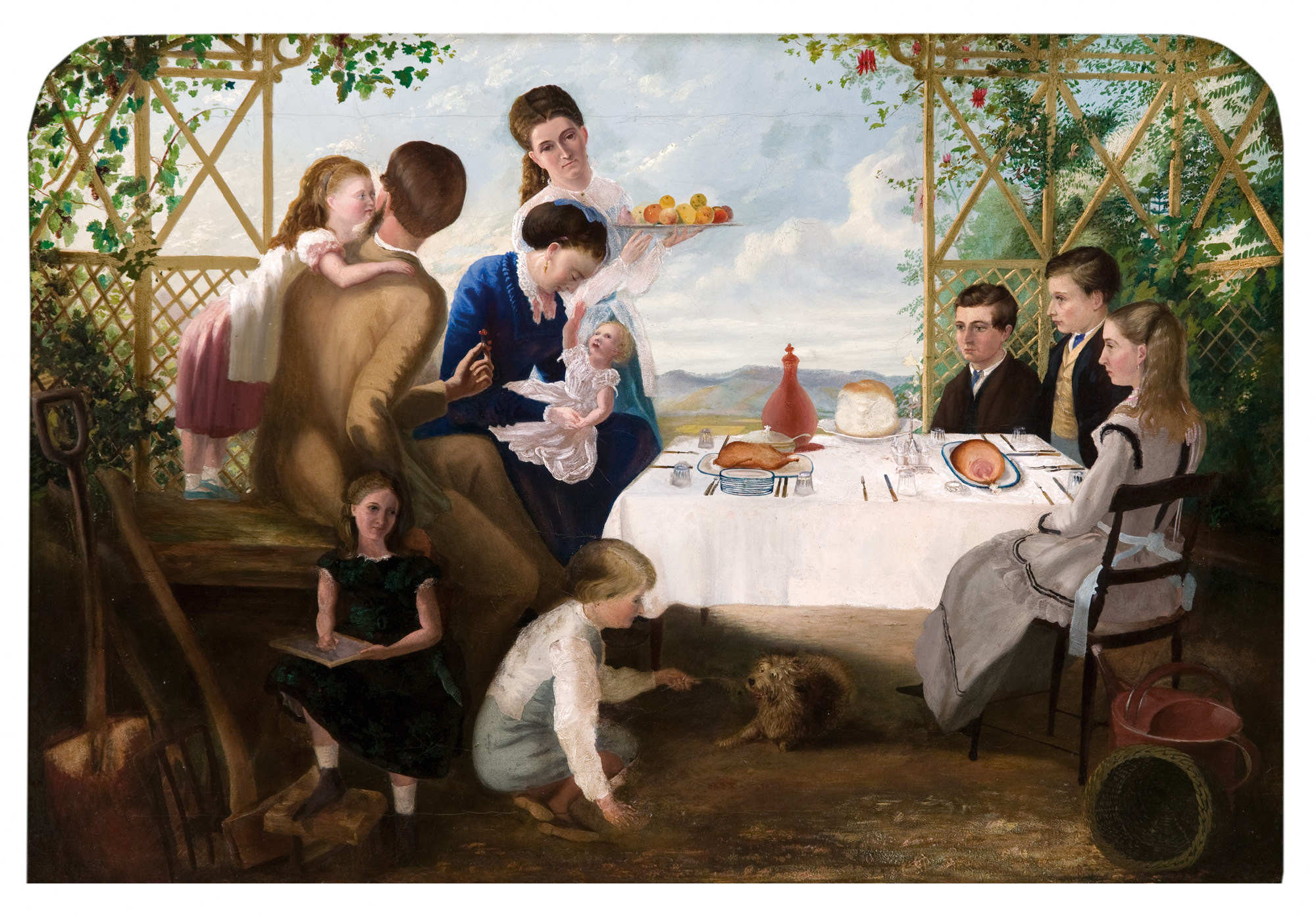 Charles Hill, Australia, 1824 - 1915,  The artist and his family , late 1860s, Adelaide, oil on canvas; Gift of Mrs I. Rusk 1966, Art Gallery of South Australia, Adelaide.